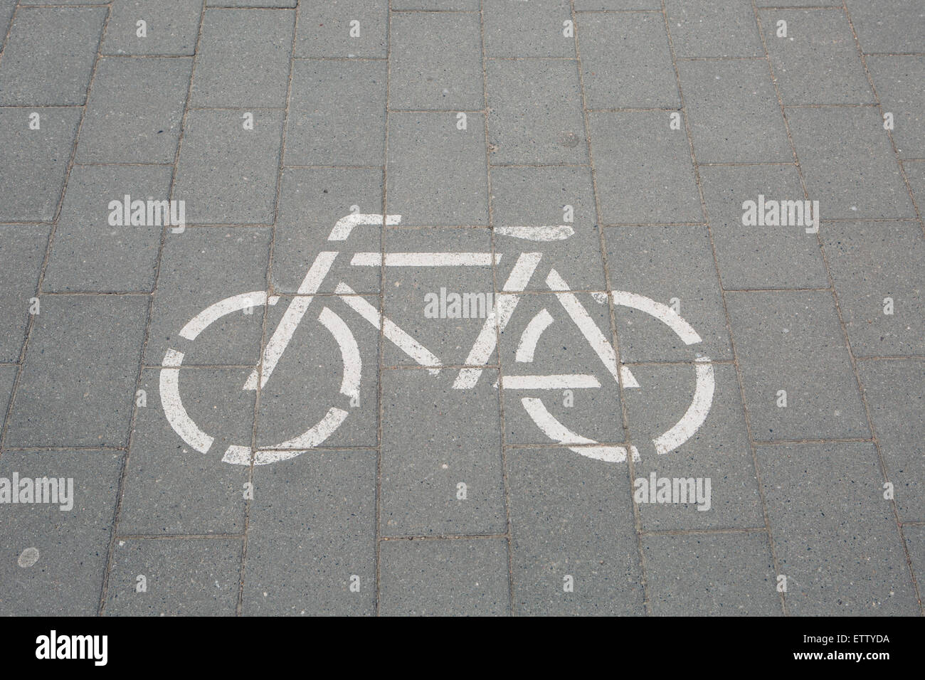 Germany, pictogram of a bicycle lane - Stock Image