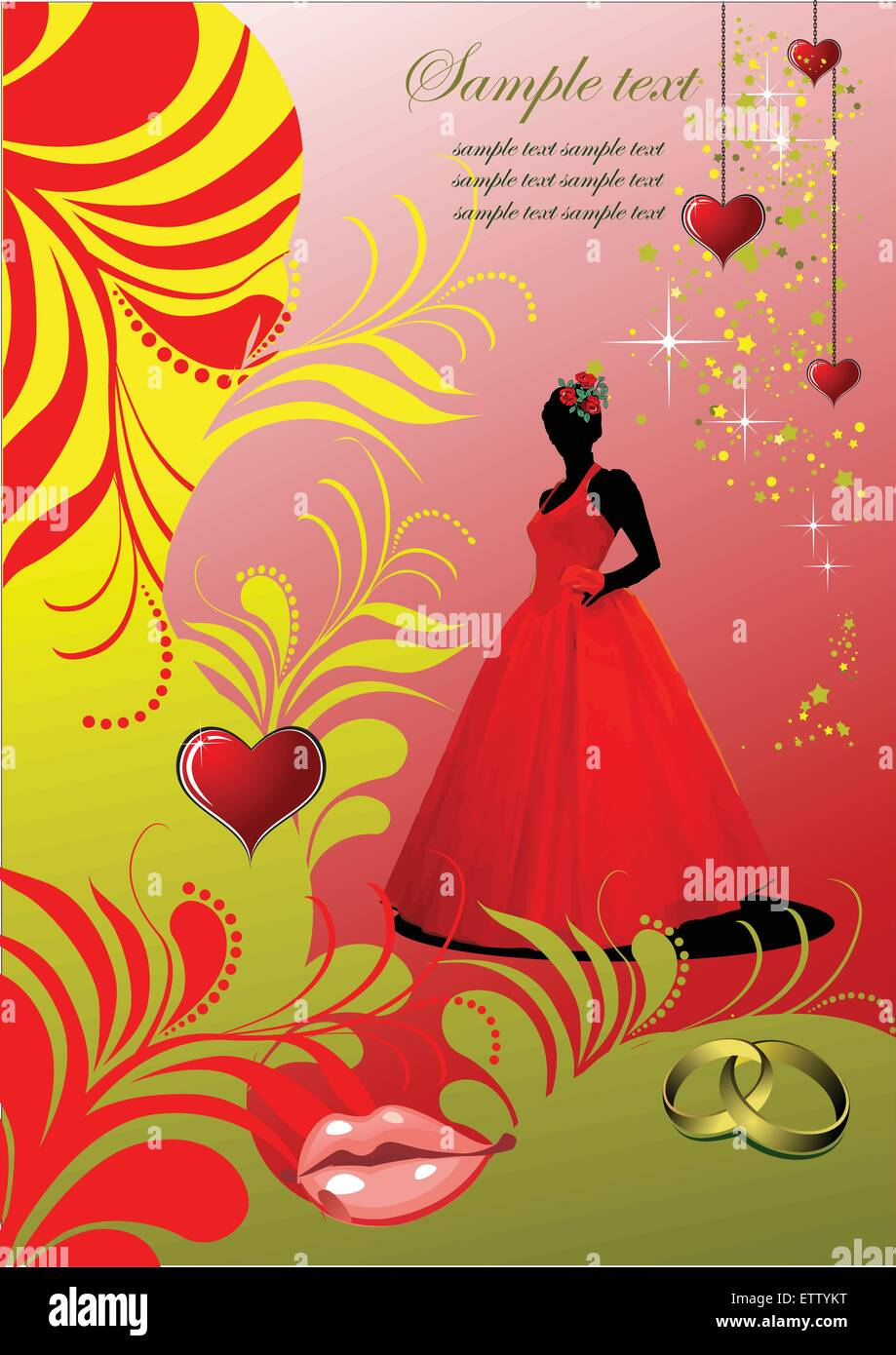 Wedding invitation card with hearts, lips and bride images. Vector ...