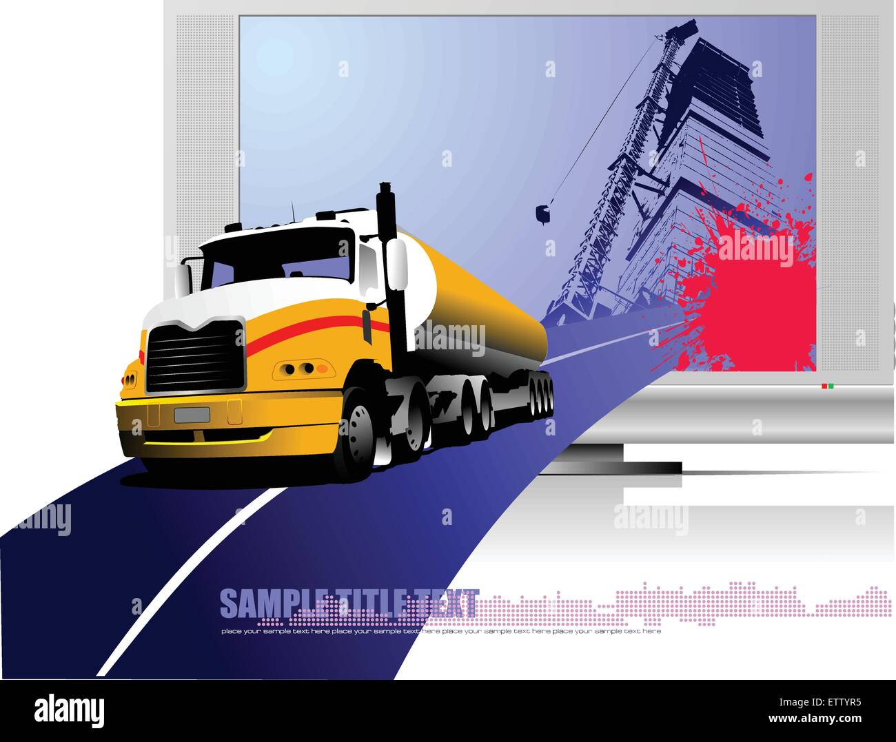 Colored Vector illustration of truck. Help for designers - Stock Image