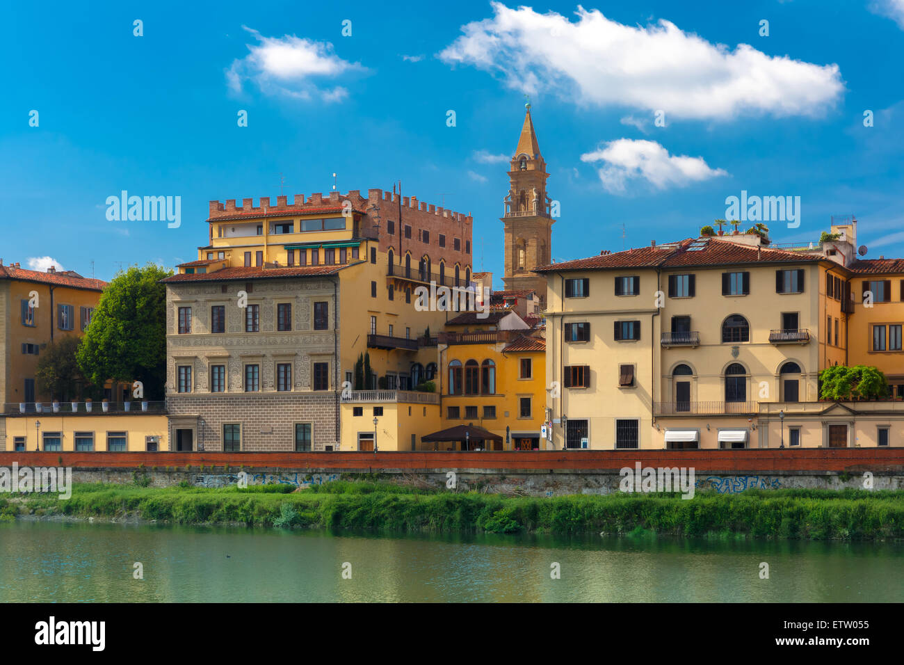 Quay of the river Arno in Florence, Italy - Stock Image