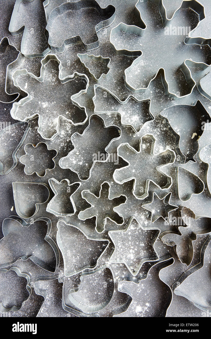 Cookie cutters in various shapes - Stock Image