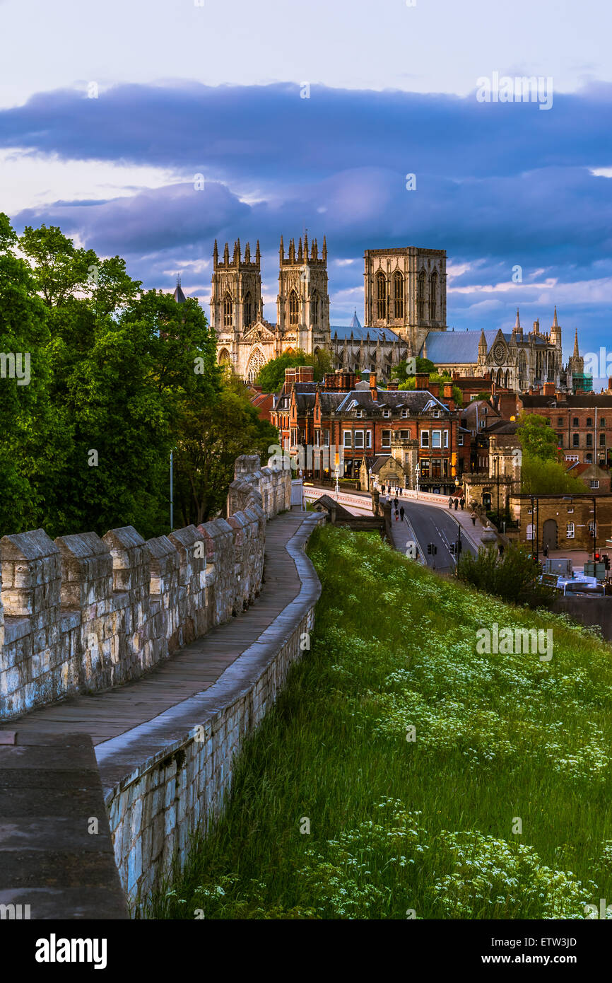York cityscape view from the mediaeval walls with York Minster in the background. - Stock Image