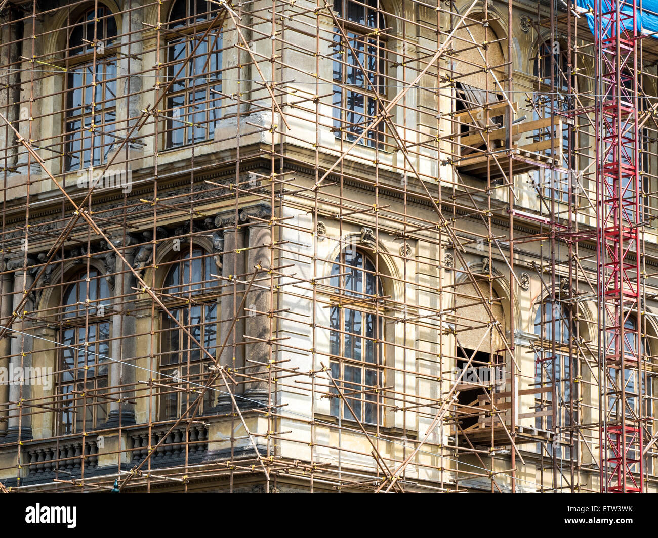 Fragment of scaffolding in Prague - Stock Image