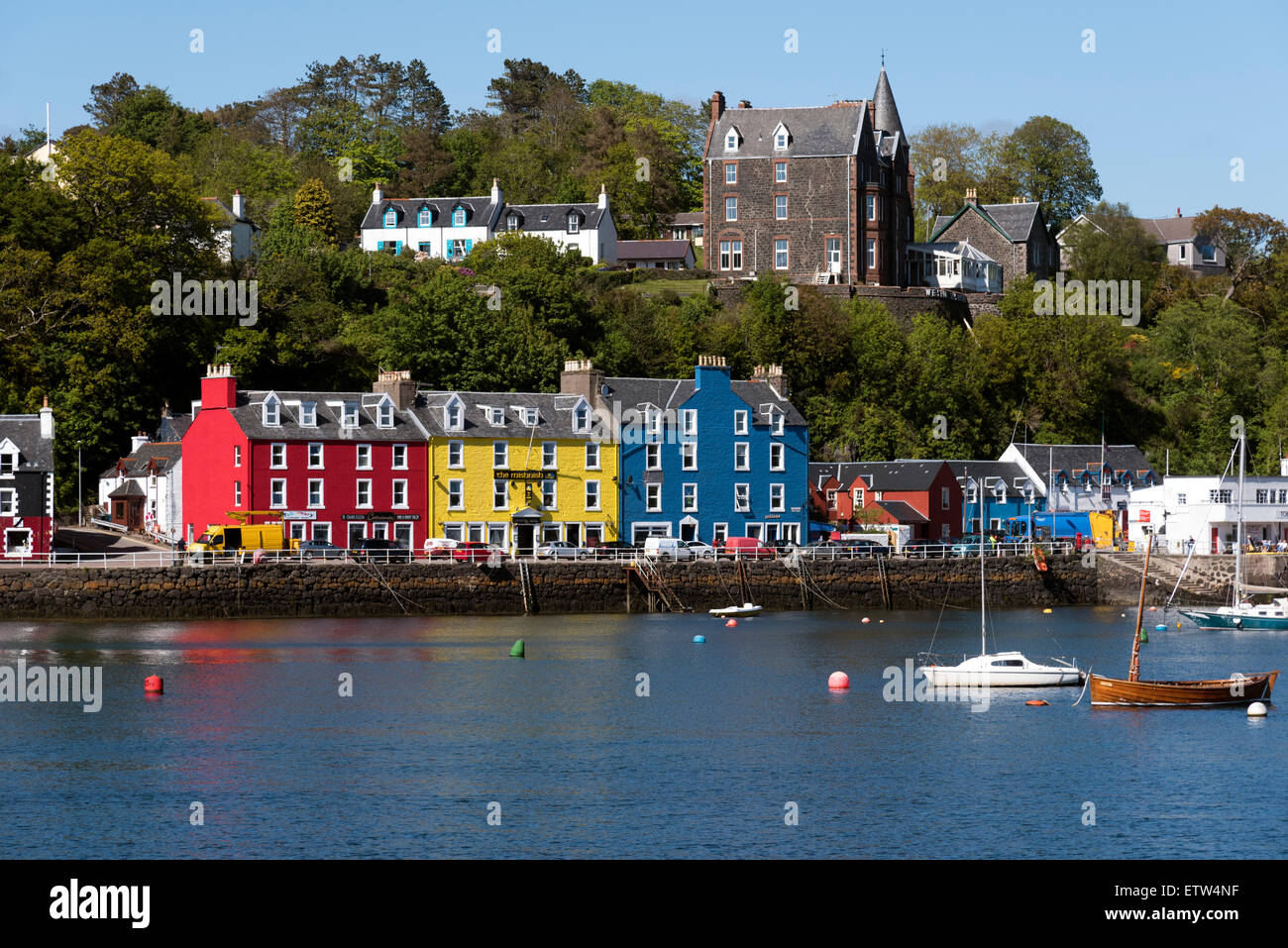 Tobermory the capital of and the only burgh in the Isle of Mull Inner Hebrides Argyll Scotland - Stock Image
