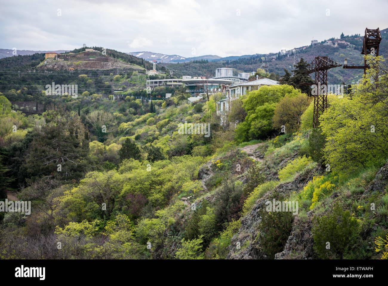 Sololaki Palace seen from from Narikala Fortress hill in Tbilisi, capital of Georgia Stock Photo