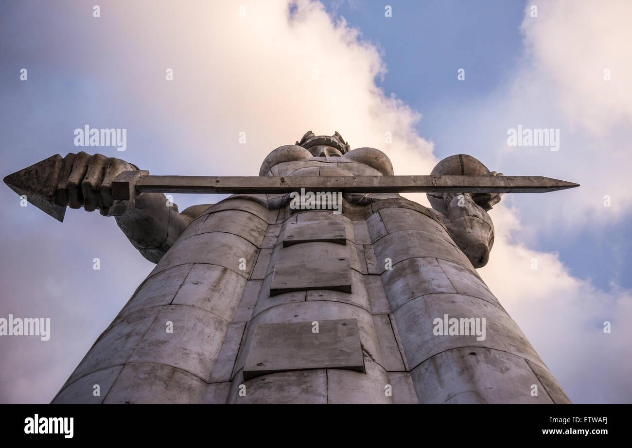 Huge Kartvlis Deda (or Kartlis Deda) monument on Sololaki hill (Mother of the Georgians) over Tbilisi, capital of Stock Photo