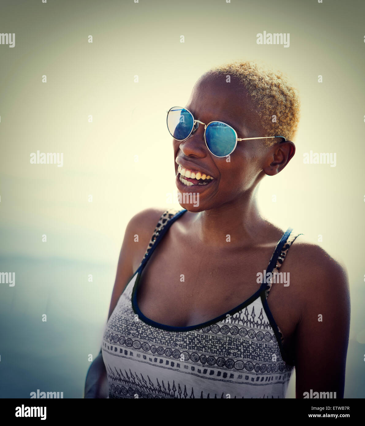 African Woman Lady Summer Beach Smiling Concept - Stock Image