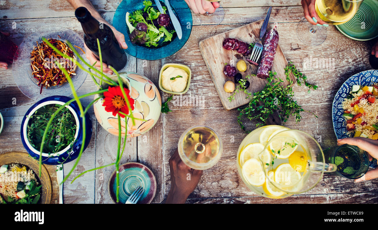 Food Beverage Party Meal Drink Concept - Stock Image