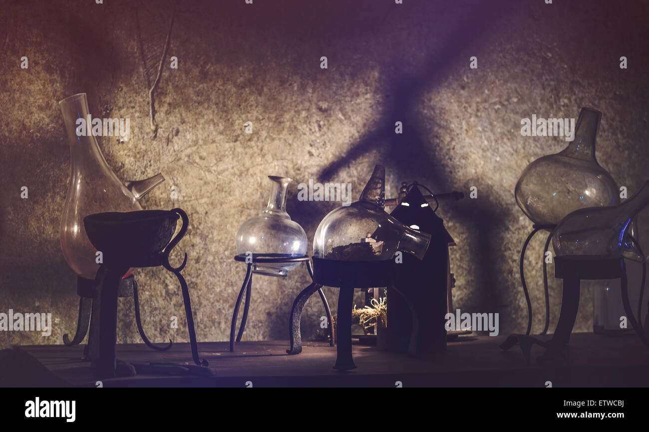 Old Chemistry Equipment used for Alchemy, Vintage Retro Tone Cross process Effect - Stock Image