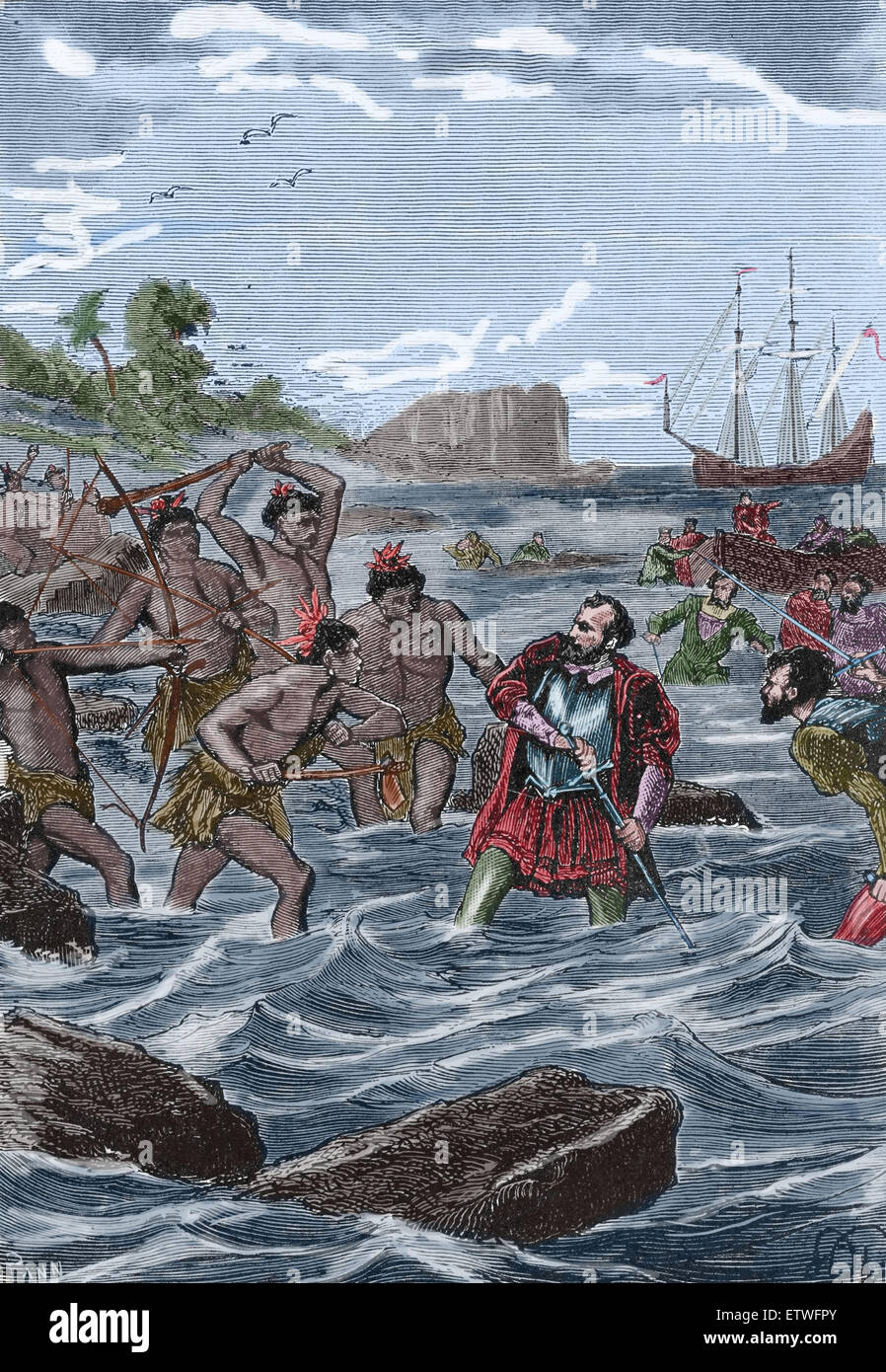Ferdinand Magellan (1480-1521). Portuguese explorer. Death Magellan at the Philippines Island. 1521. Color engraving. - Stock Image