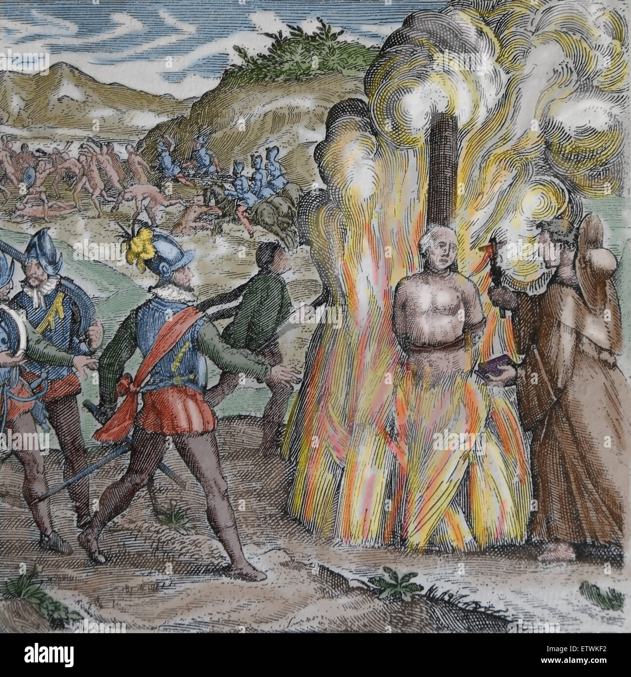 Bartolome de las Casas, Destruction of the Indies. Taino chief Hatuey being burnt by Spanish soldiers. Color. Engraving. - Stock Image