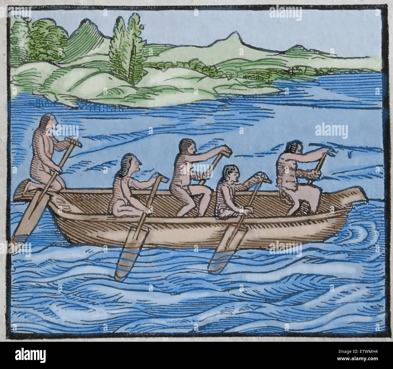 America. Indian canoe of Paria country. Wood engraving. 16th century. Later colouration. - Stock Image