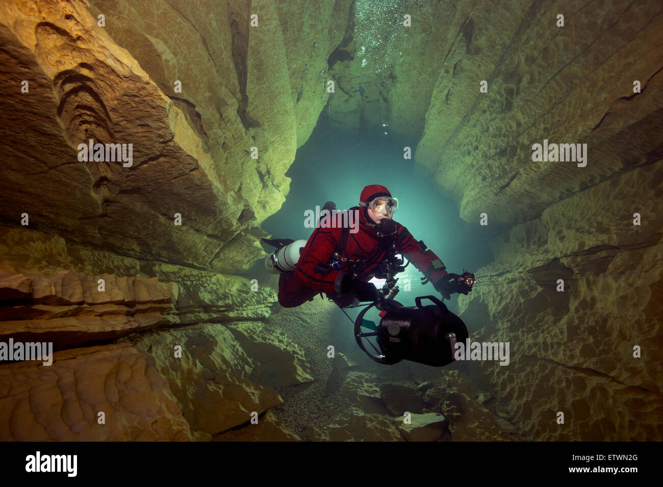 France, Lot, cave diver in the Emergence du Ressel - Stock Image