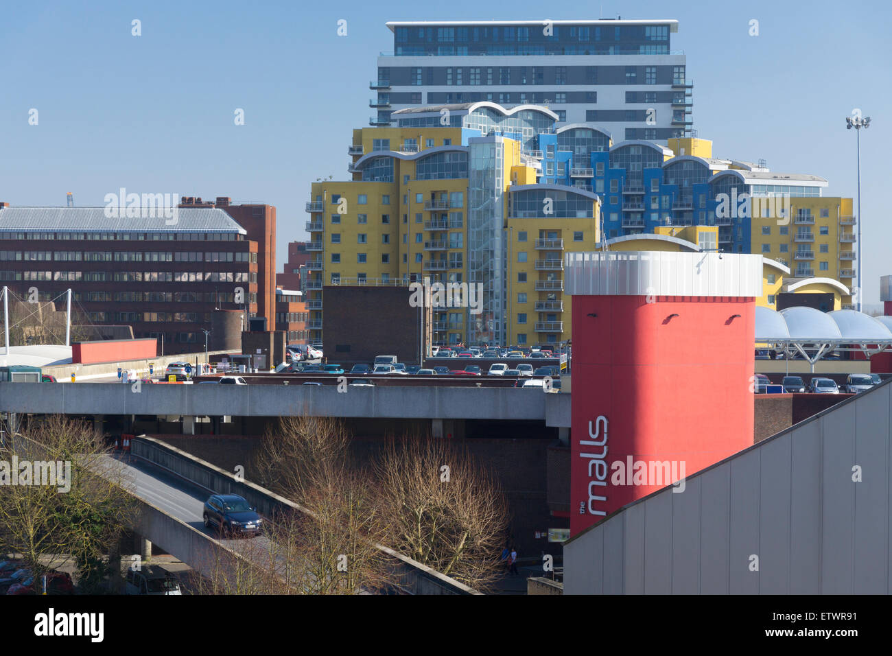 A view on The Malls, Crown Heights and the IBM building in Basingstoke - Stock Image