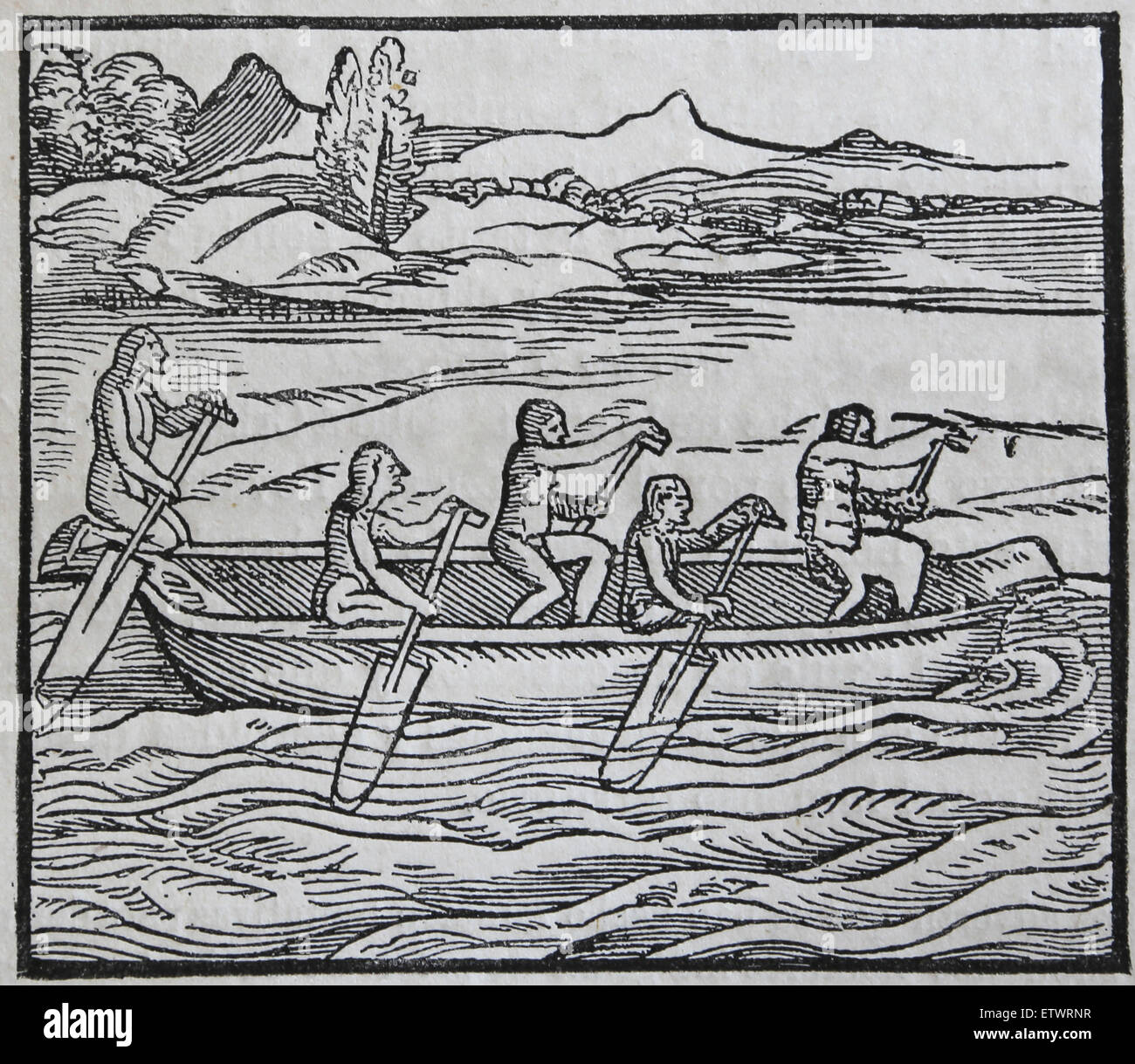 America. Indian canoe of Paria country. Wood engraving. 16th century. - Stock Image