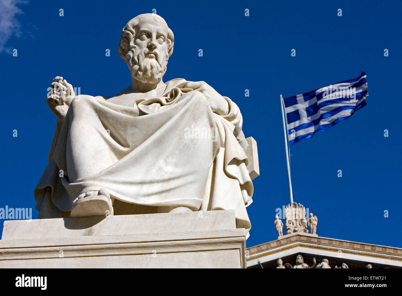 Marble statue of Greek philosopher Plato / Platon, outside Athens Academy. Panepistimiou str., Greece. - Stock Image