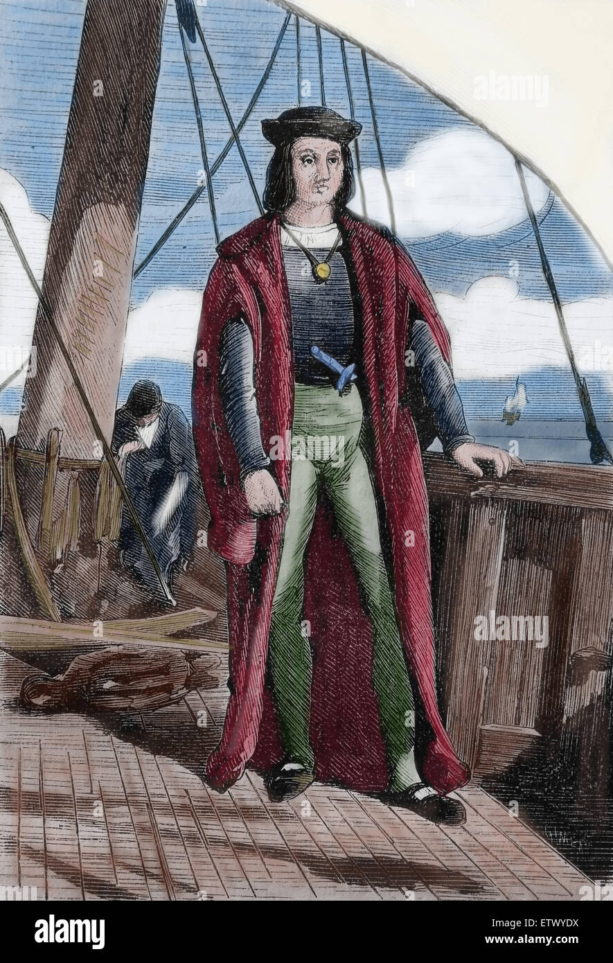 Christopher Columbus (1450-1506). Explorer, navigation. Discoverer of the New World. Engraving. 19th century. Color. - Stock Image