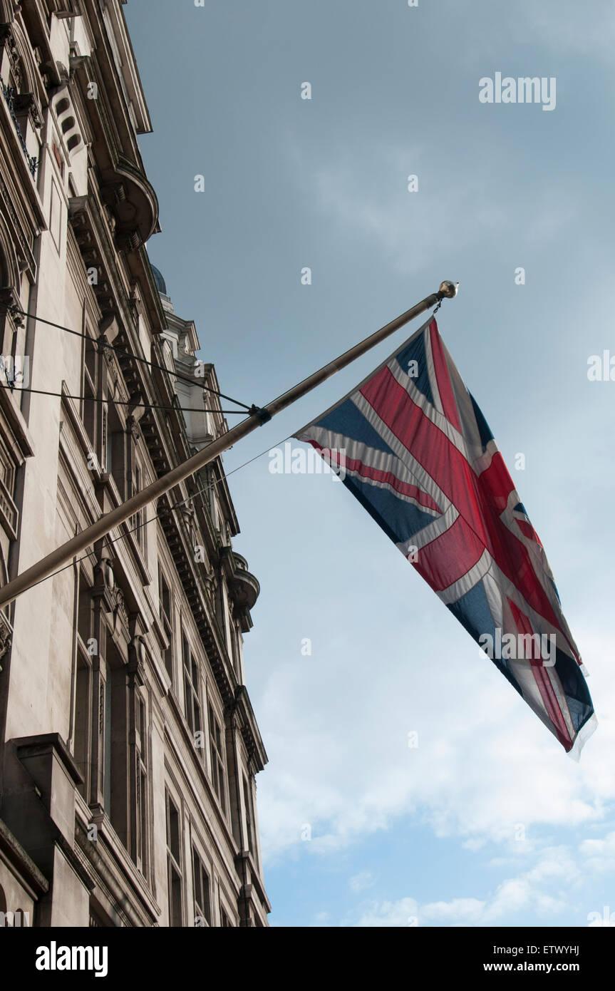 Union Jack flag on a flagpole - Stock Image