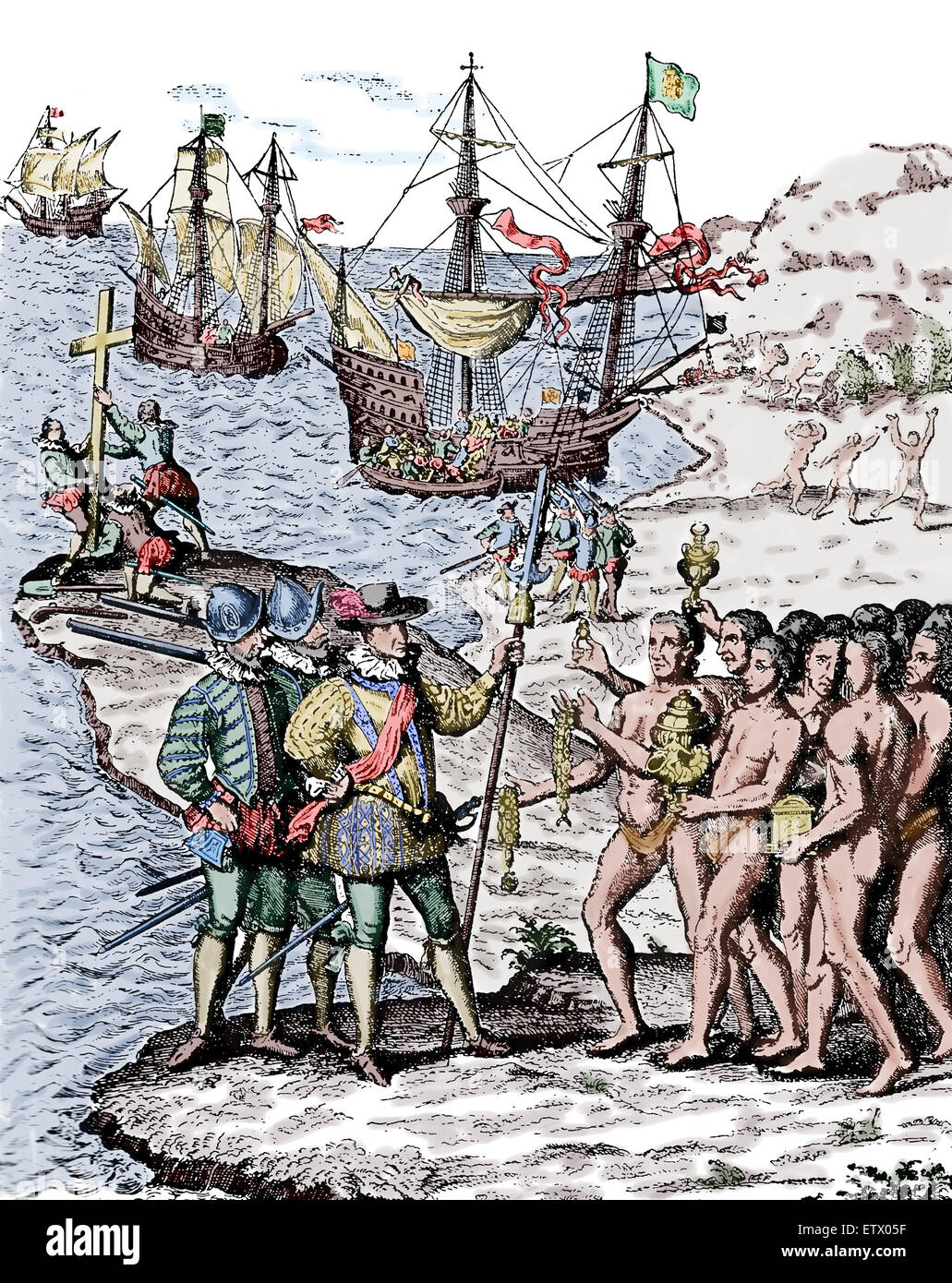 "Engraving by Theodore de Bry, 1592. Formed part of his ""America series"",  showing Christopher Columbus landing on the Hispaniola."