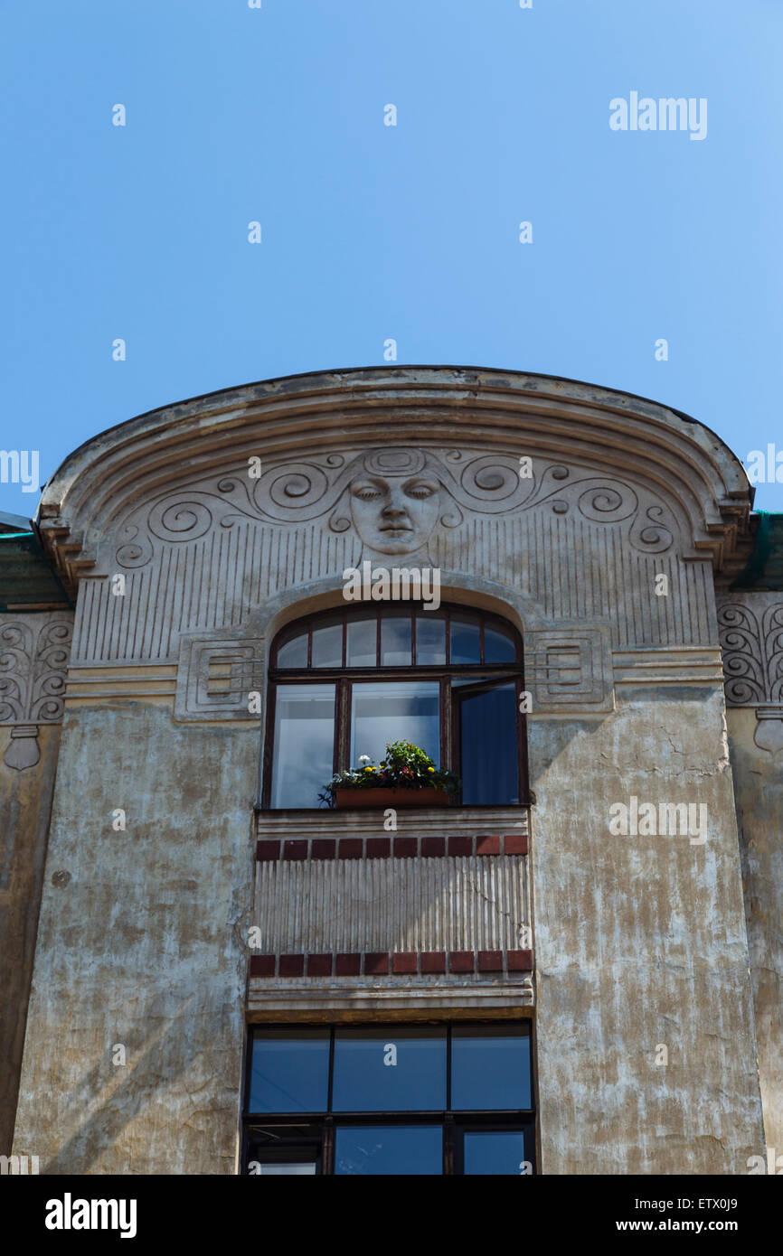 Facade of Art Nouveau (Jugendstil) building at Vilandes Iela 4 in Riga, Latvia, designed by architect Konstantins - Stock Image
