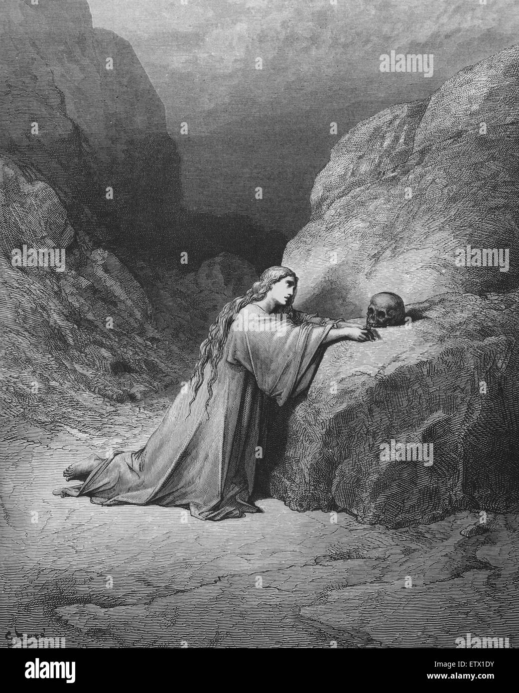 New Testament. Mary Magdalene repentant. Luke 7:47. Engraving by Gustave Dore. 19th c. - Stock Image
