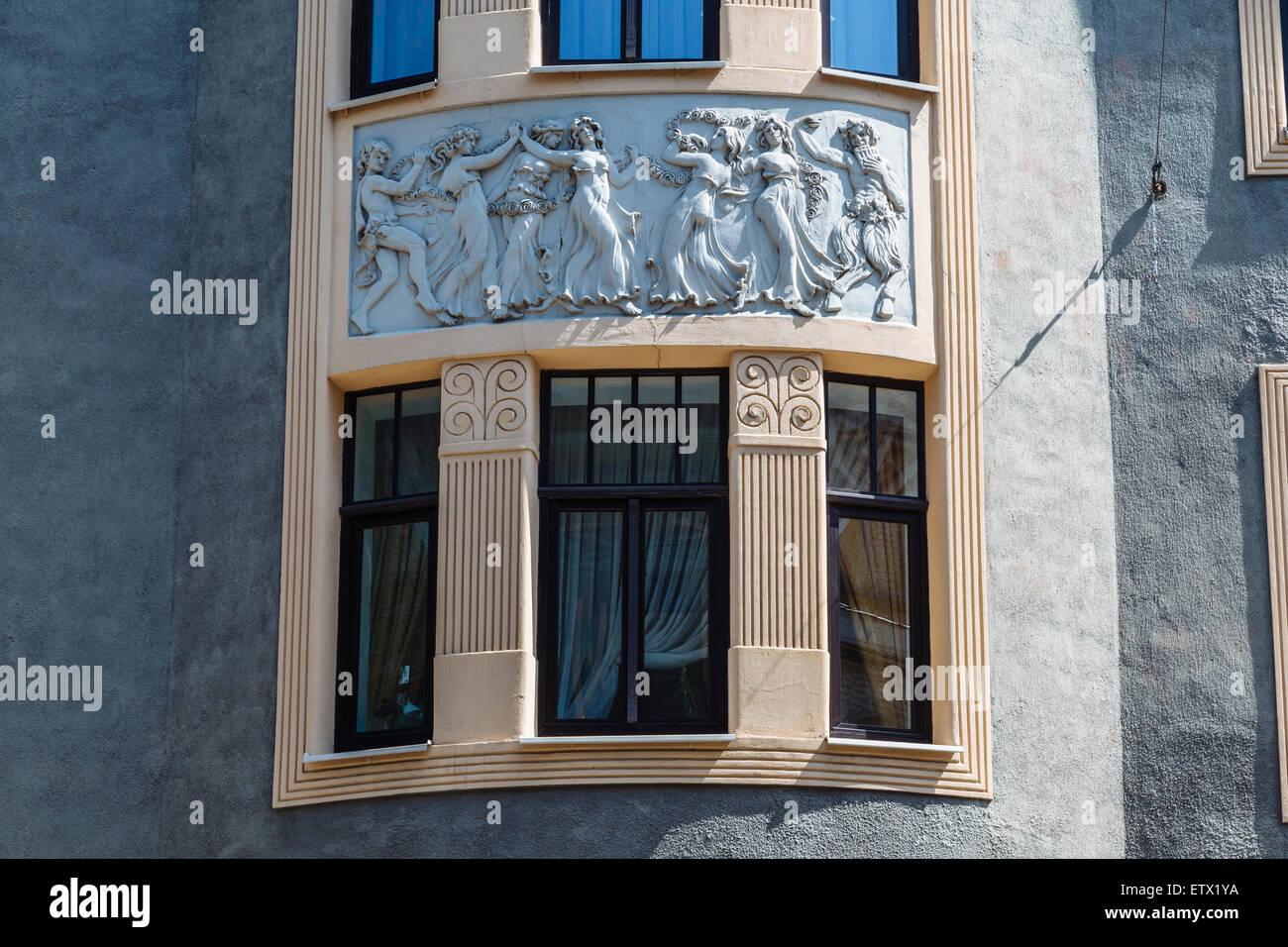 Facade of Art Nouveau (Jugendstil) building at Vilandes Iela 10 in Riga, Latvia, designed by architect Konstantins - Stock Image