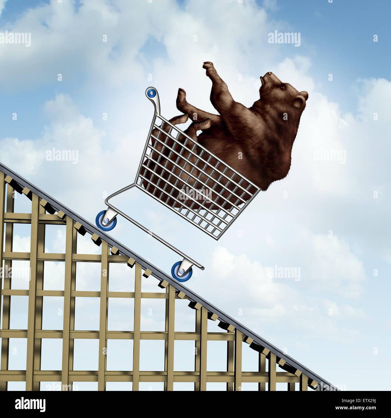 Stock market decline financial crisis concept as a bear in a shopping cart going down on a roller coaster structure - Stock Image