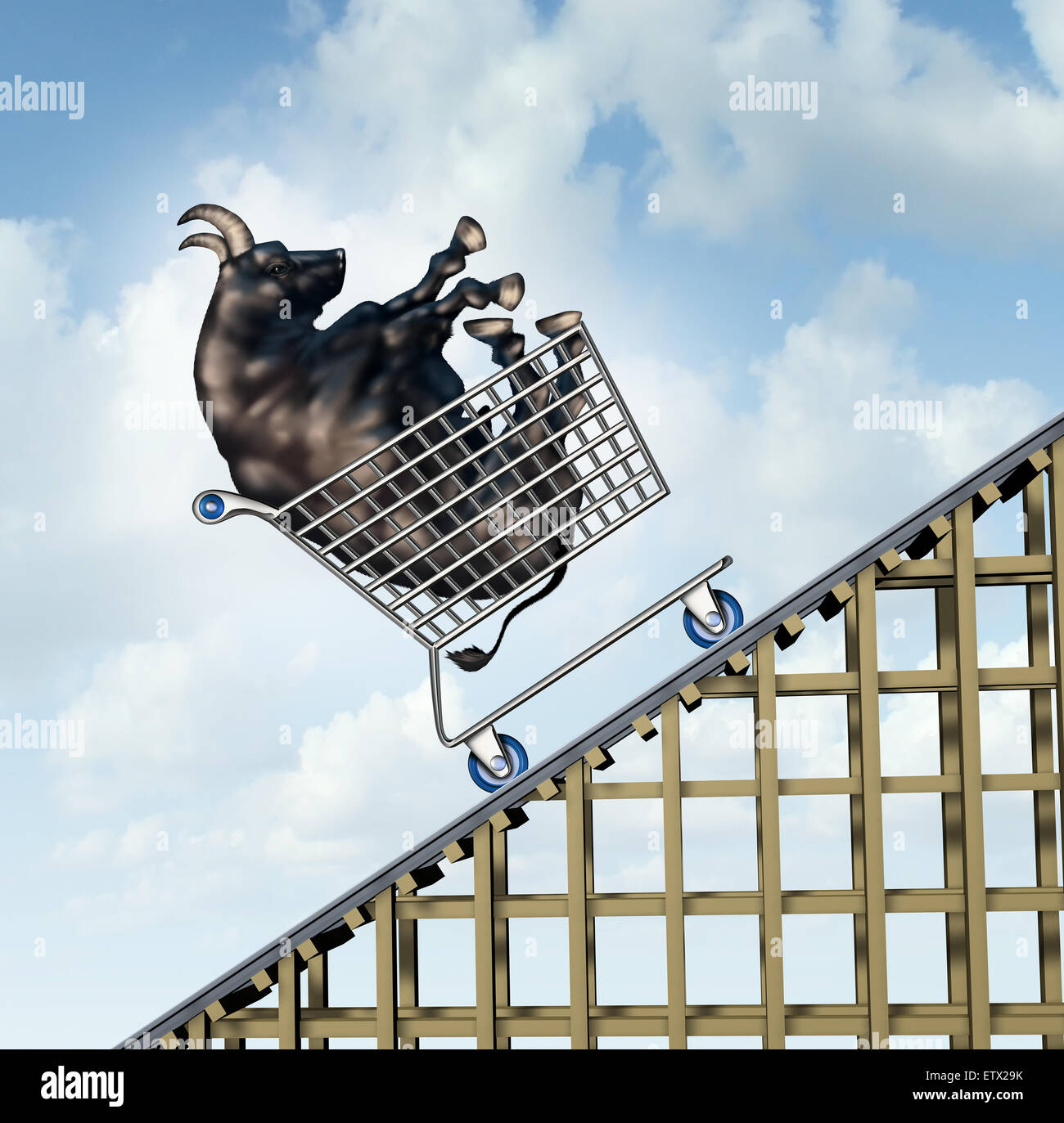 Stock market rise financial success concept as a bull in a shopping cart going up on a roller coaster structure - Stock Image