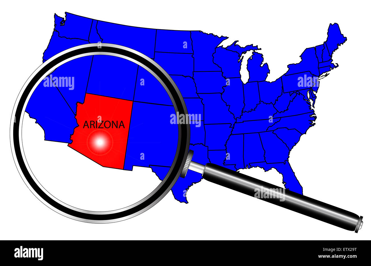 Arizona state outline set into a map of The United States of ...