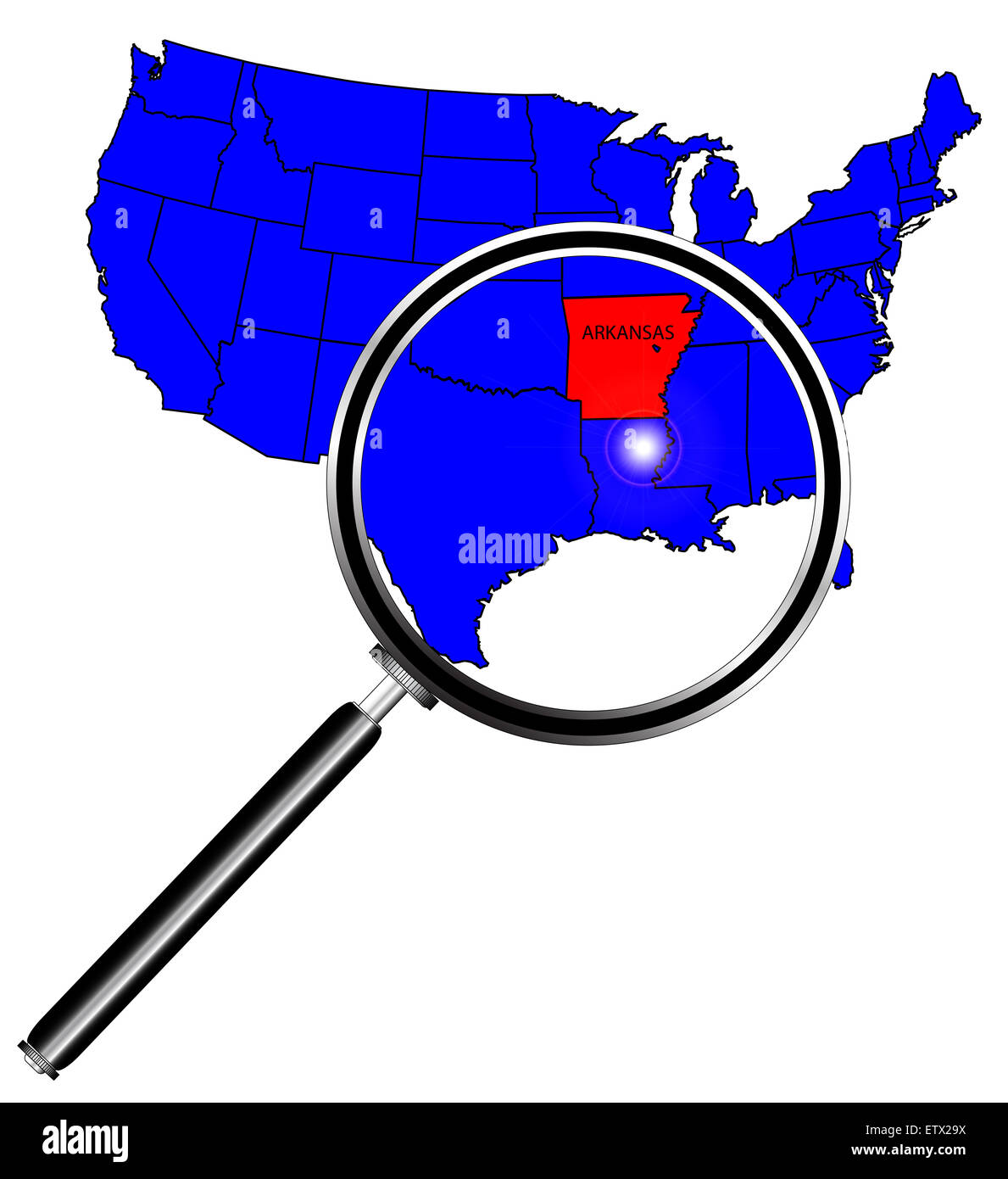 Arkansas state outline set into a map of The United States ...
