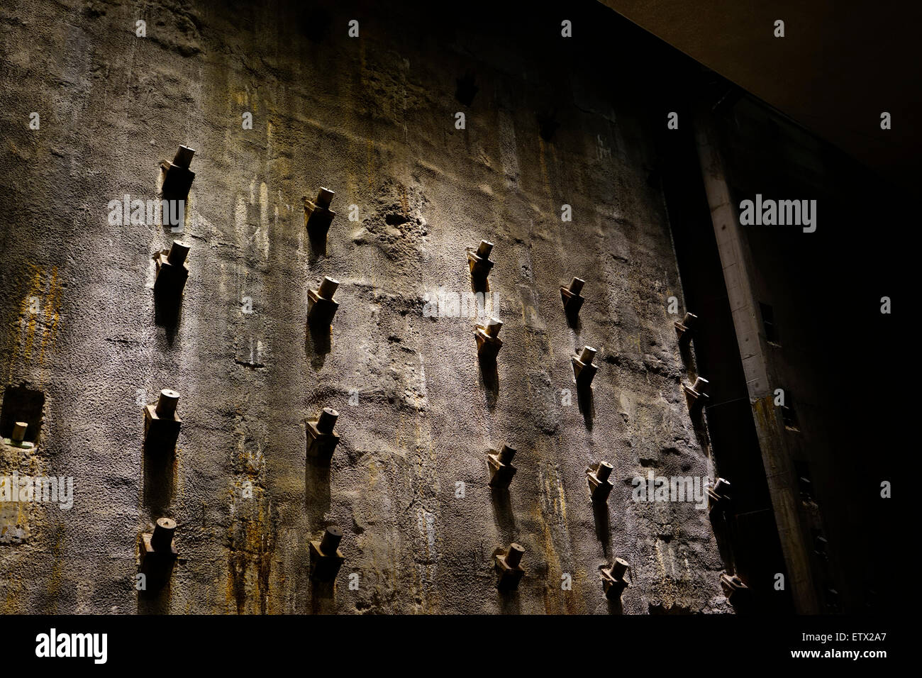 original slurry wall in foundation hall in the 9/11 memorial museum - Stock Image