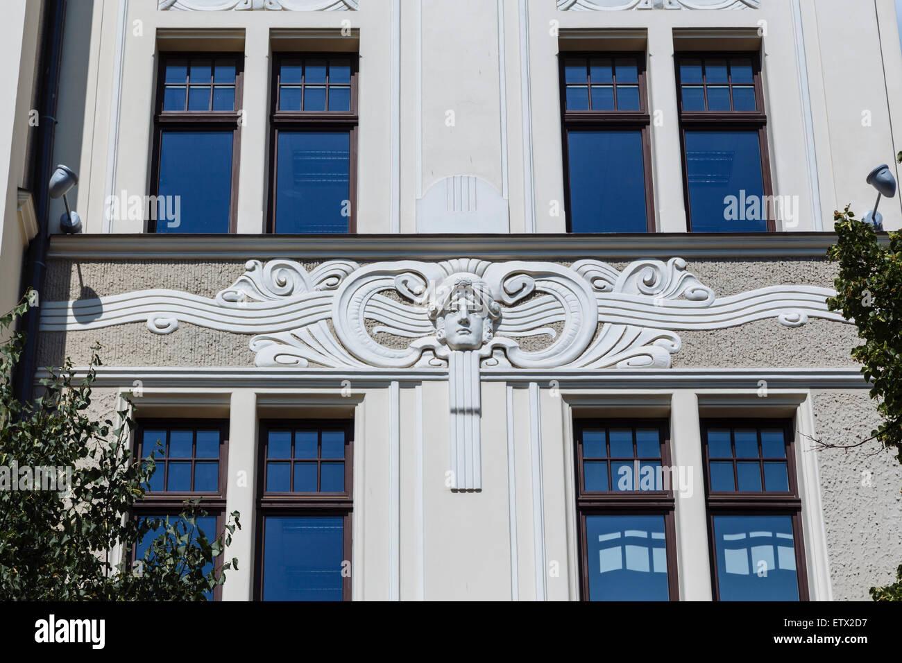 Facade of Art Nouveau (Jugendstil) building at Elizabetes iela 23, Riga, Latvia, designed by Hermanis Hilbigs - Stock Image