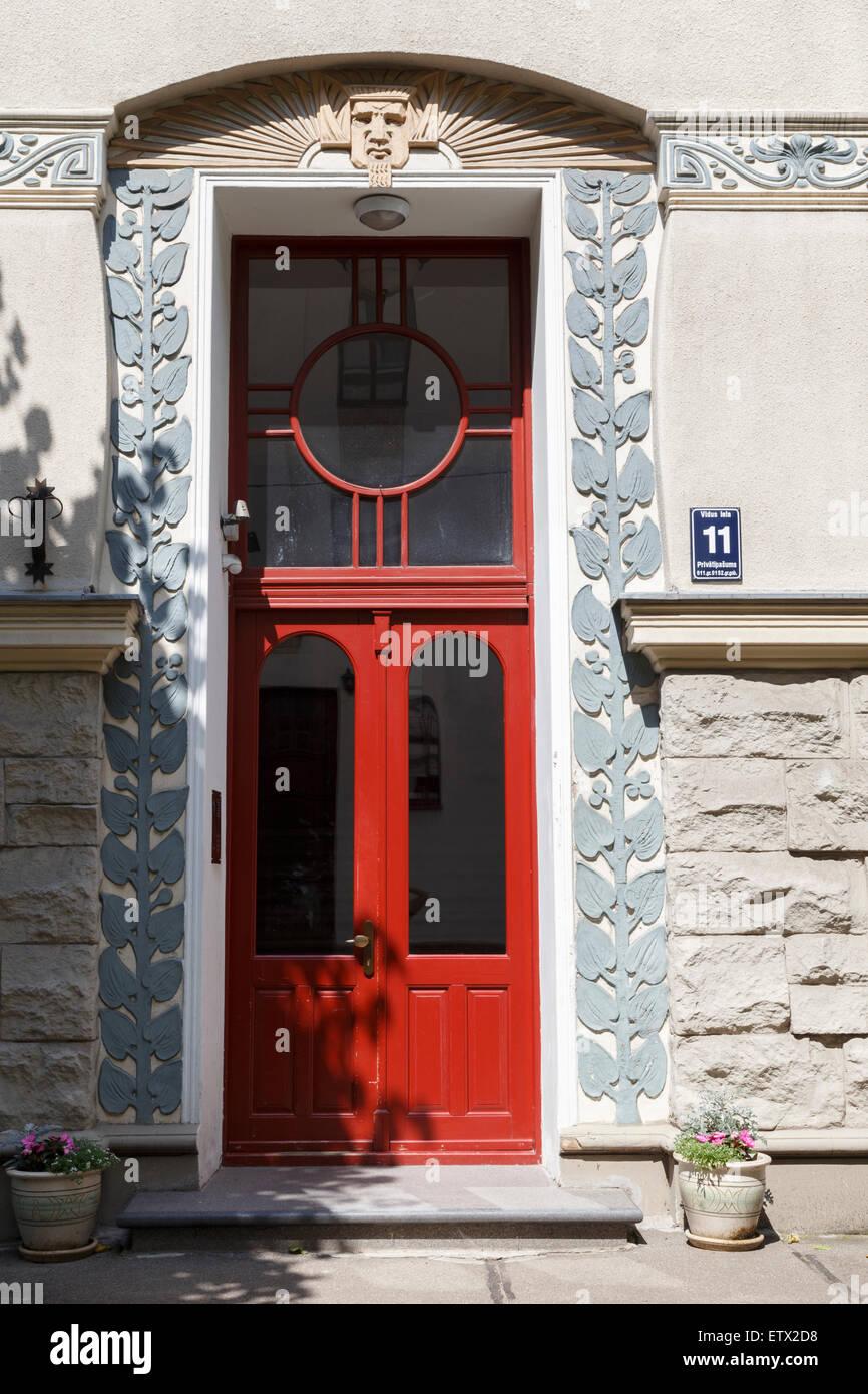 Facade of Art Nouveau (Jugendstil) building at Vidus iela 11, Riga, Latvia, designed by Konstantins Peksens - Stock Image