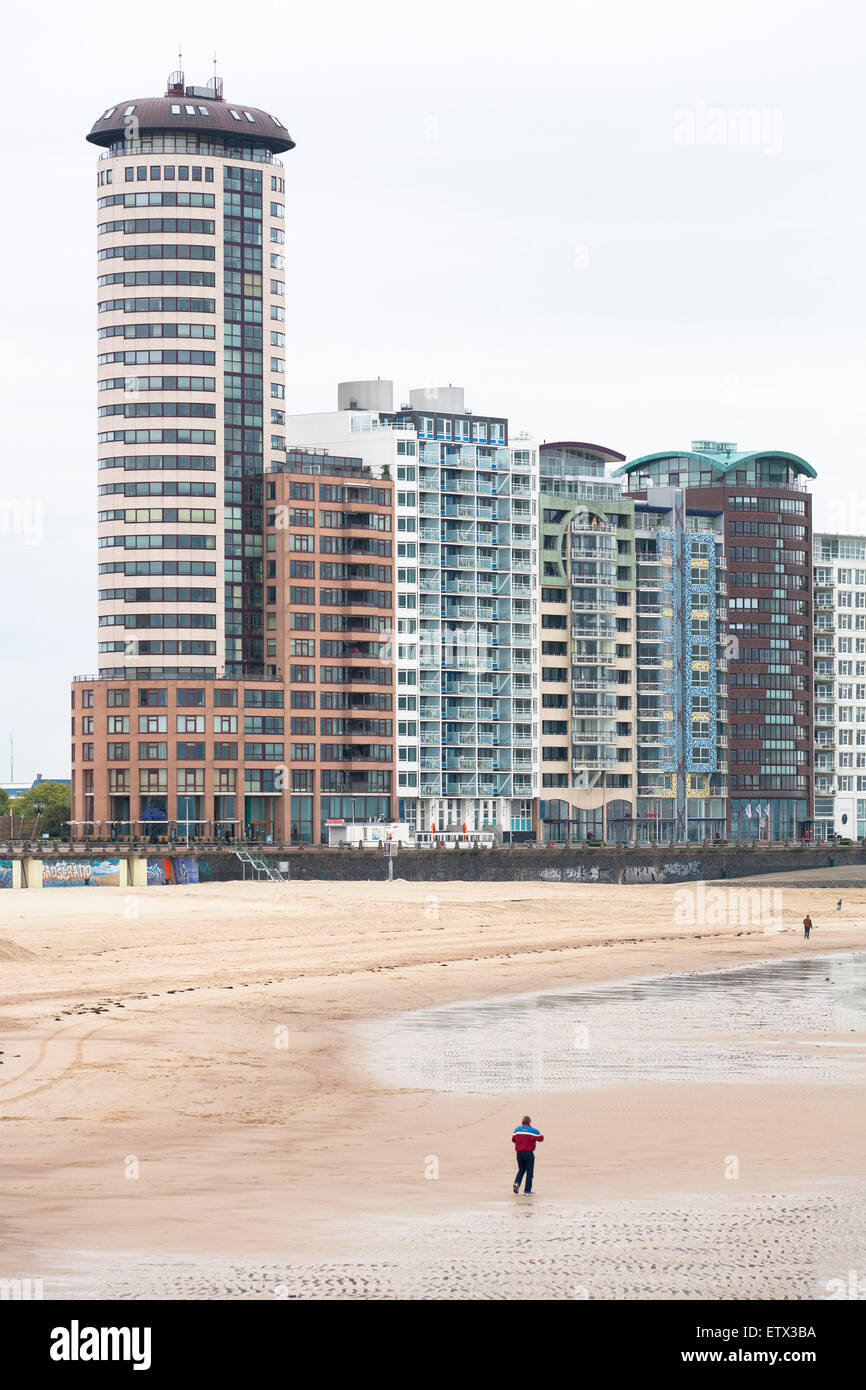 Europe, Netherlands, Zeeland, Vlissingen on the island Walcheren, high-rise buildings at the Boulevard at the beach, - Stock Image