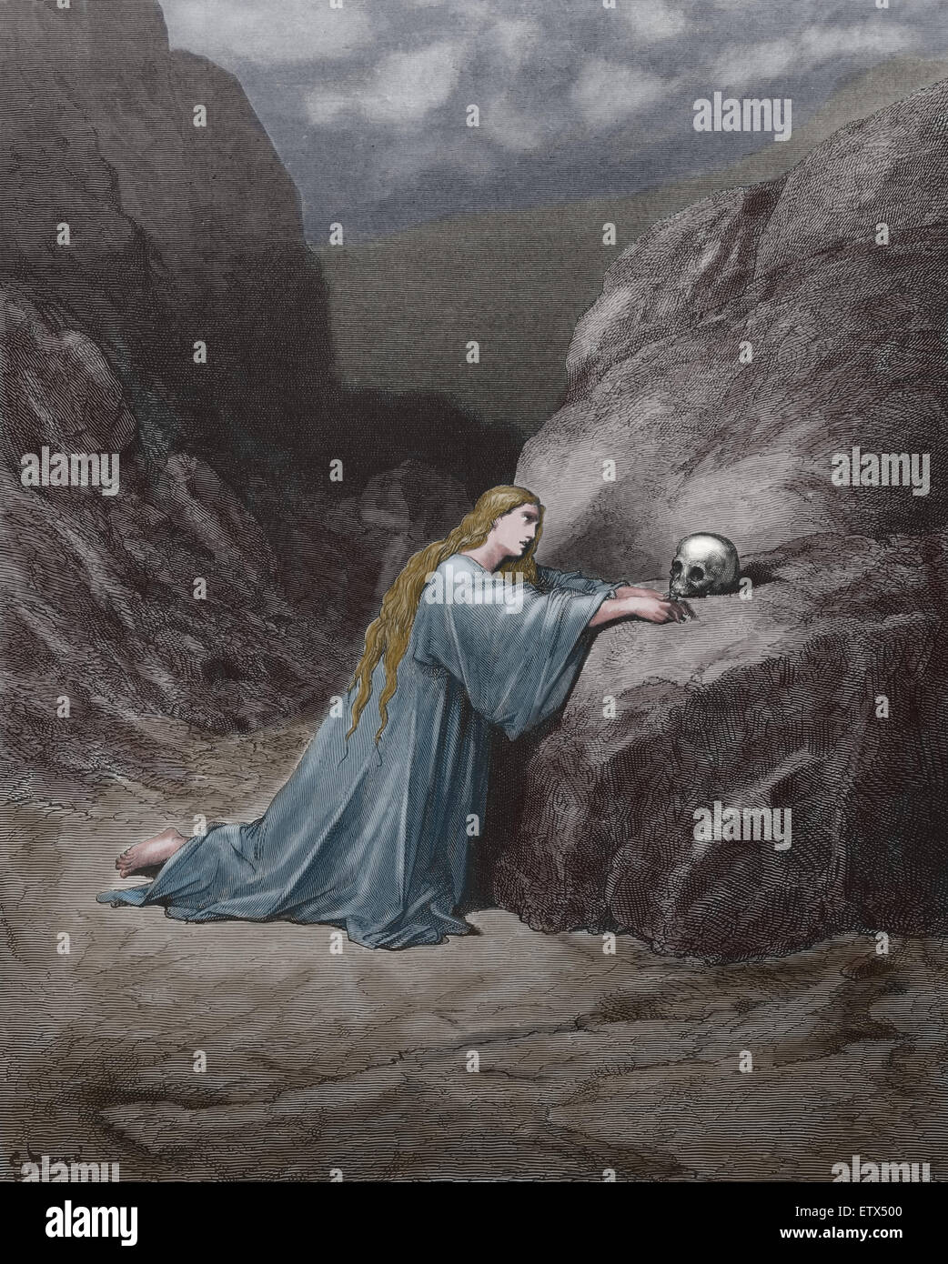 New Testament. Mary Magdalene repentant. Luke 7:47. Engraving by Gustave Dore. 19th c. Later colouration. - Stock Image