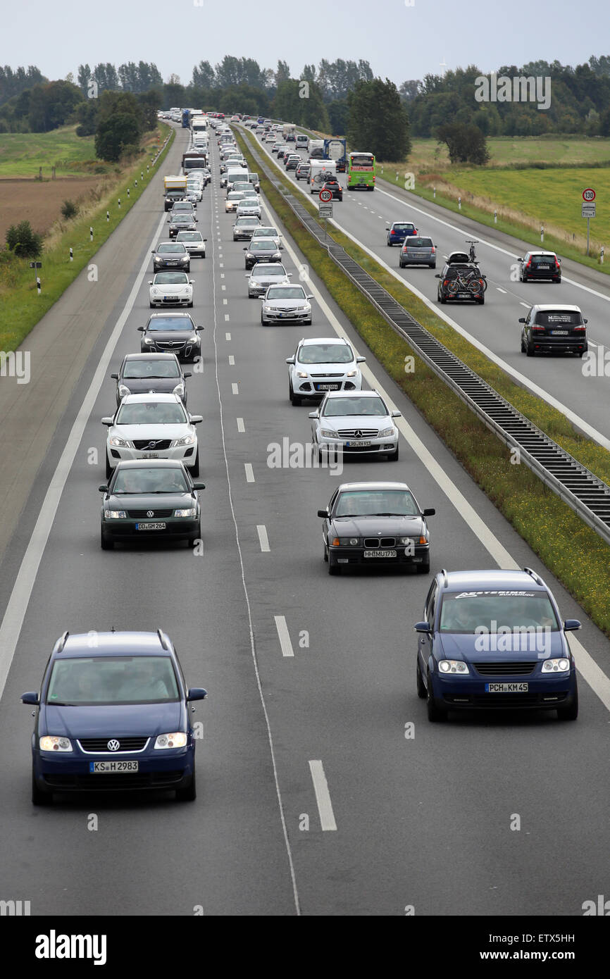 Neuruppin, Germany, slow-moving traffic on the A24 Stock Photo