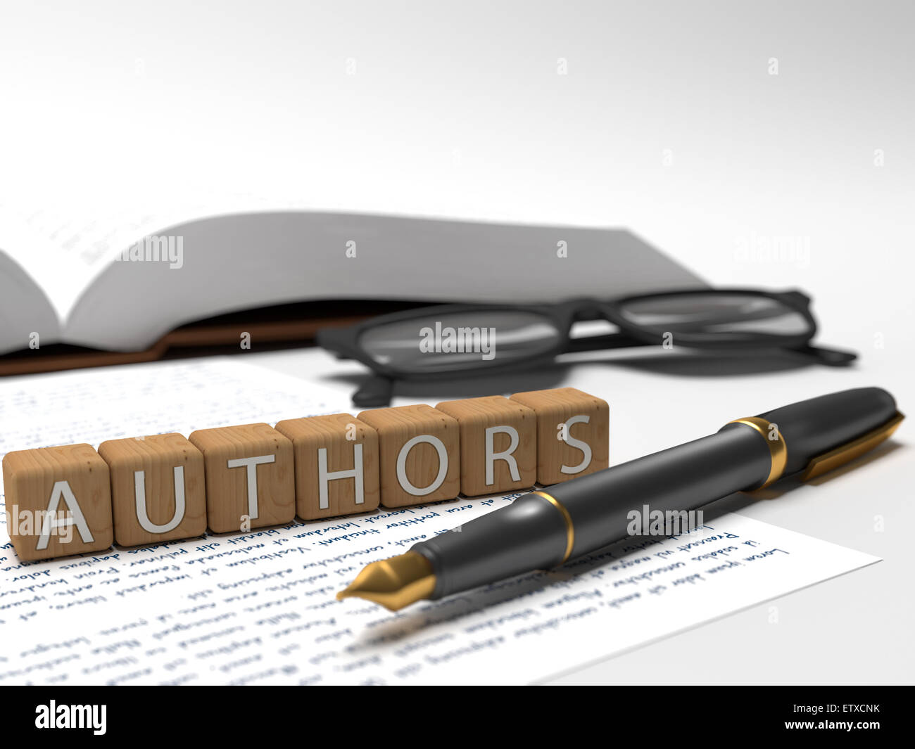 Authors - dices containing the word authors, a book, glasses and a fountain pen. - Stock Image