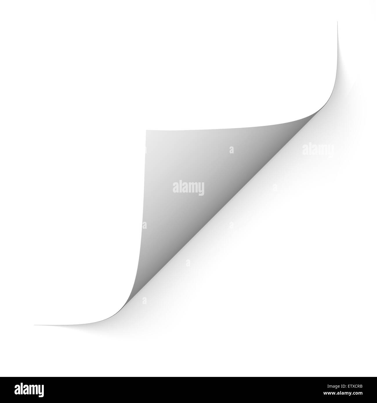 Page Curl white - A curved page on a white background - Stock Image