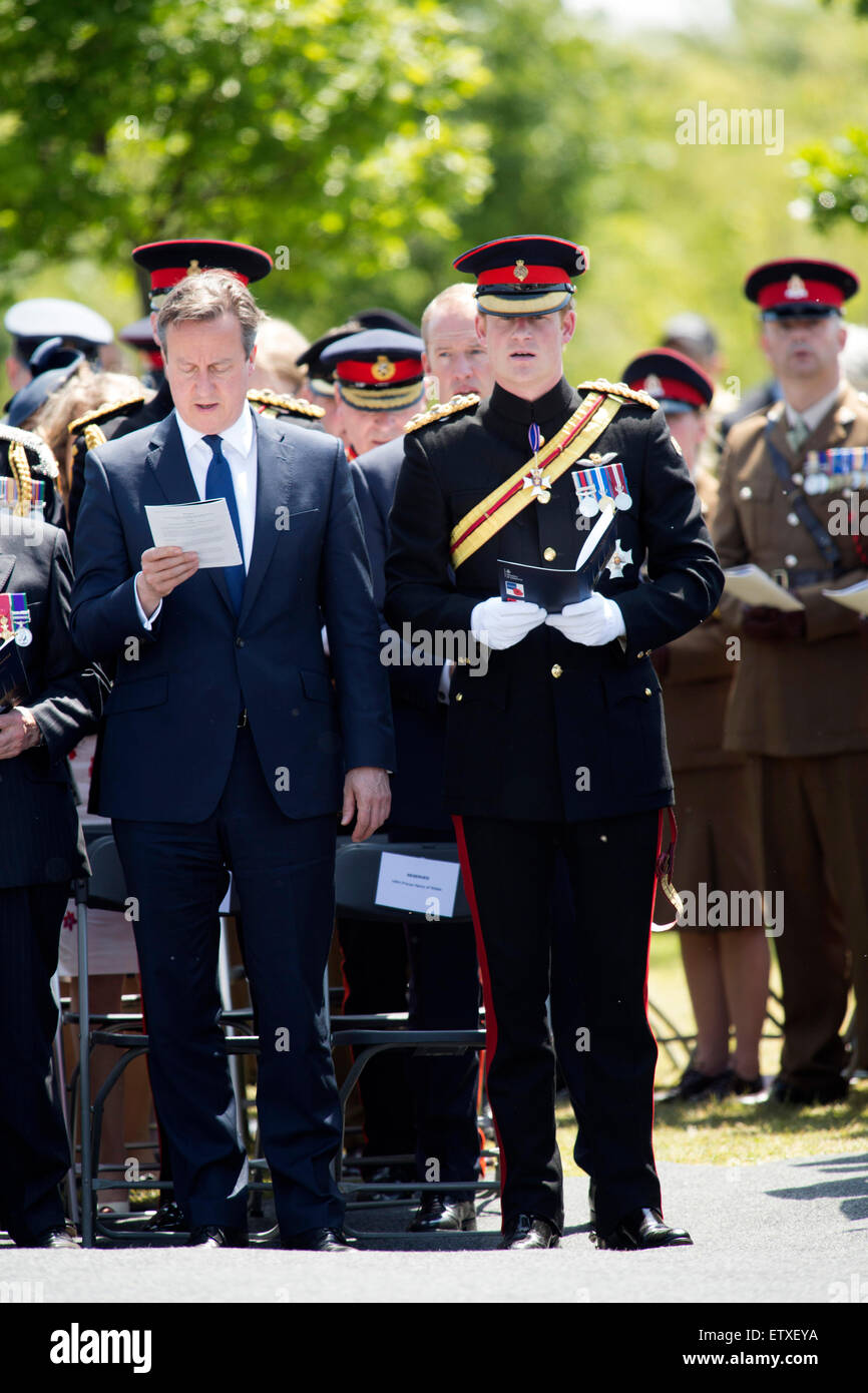 HRH Prince Harry and Prime Minister David Cameron taking part in the dedication ceremony of the Bastion Wall at - Stock Image