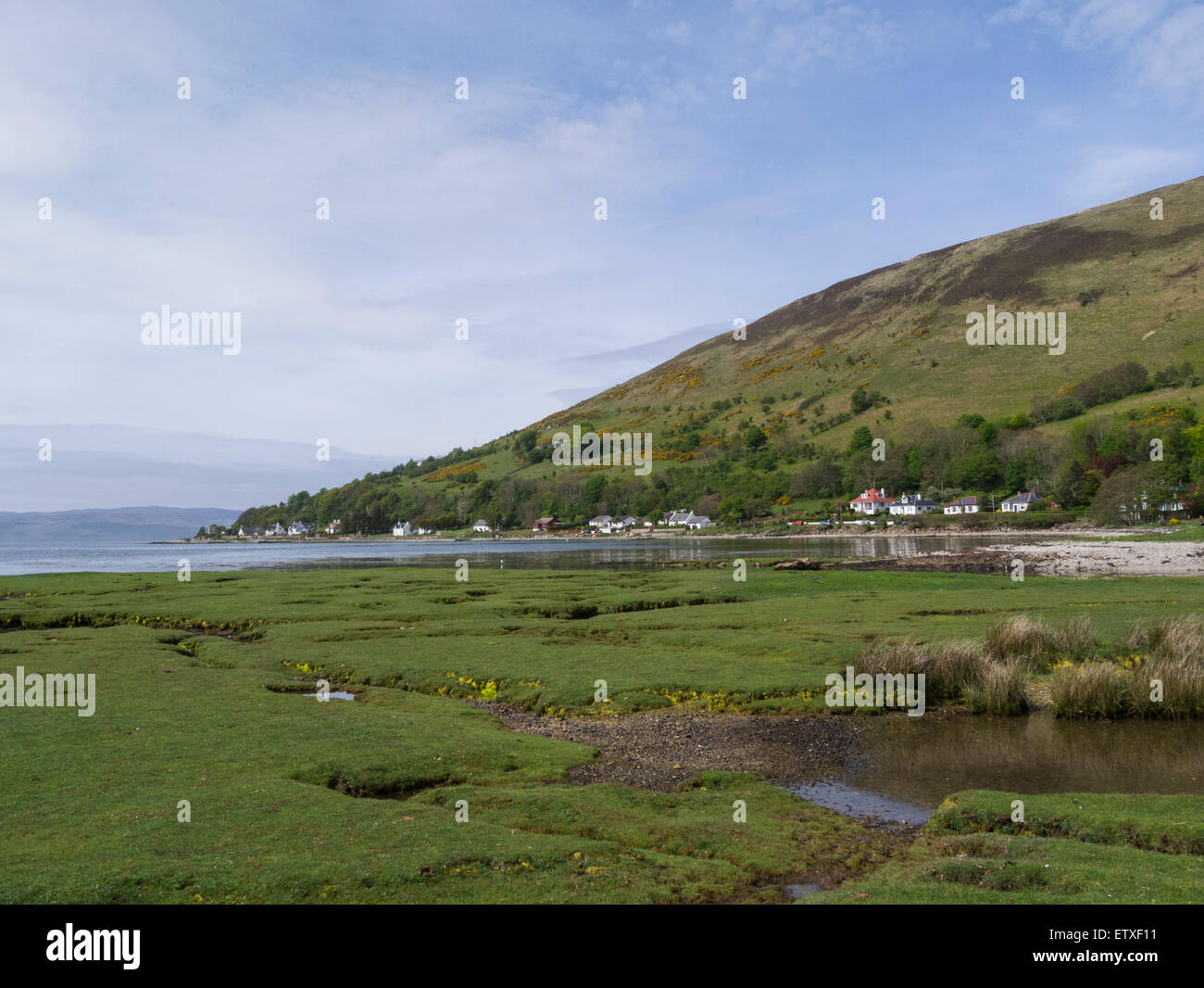 View across Loch Ranza to loch side properties on beautiful Isle of Arran North Ayrshire Scotland on lovely May - Stock Image