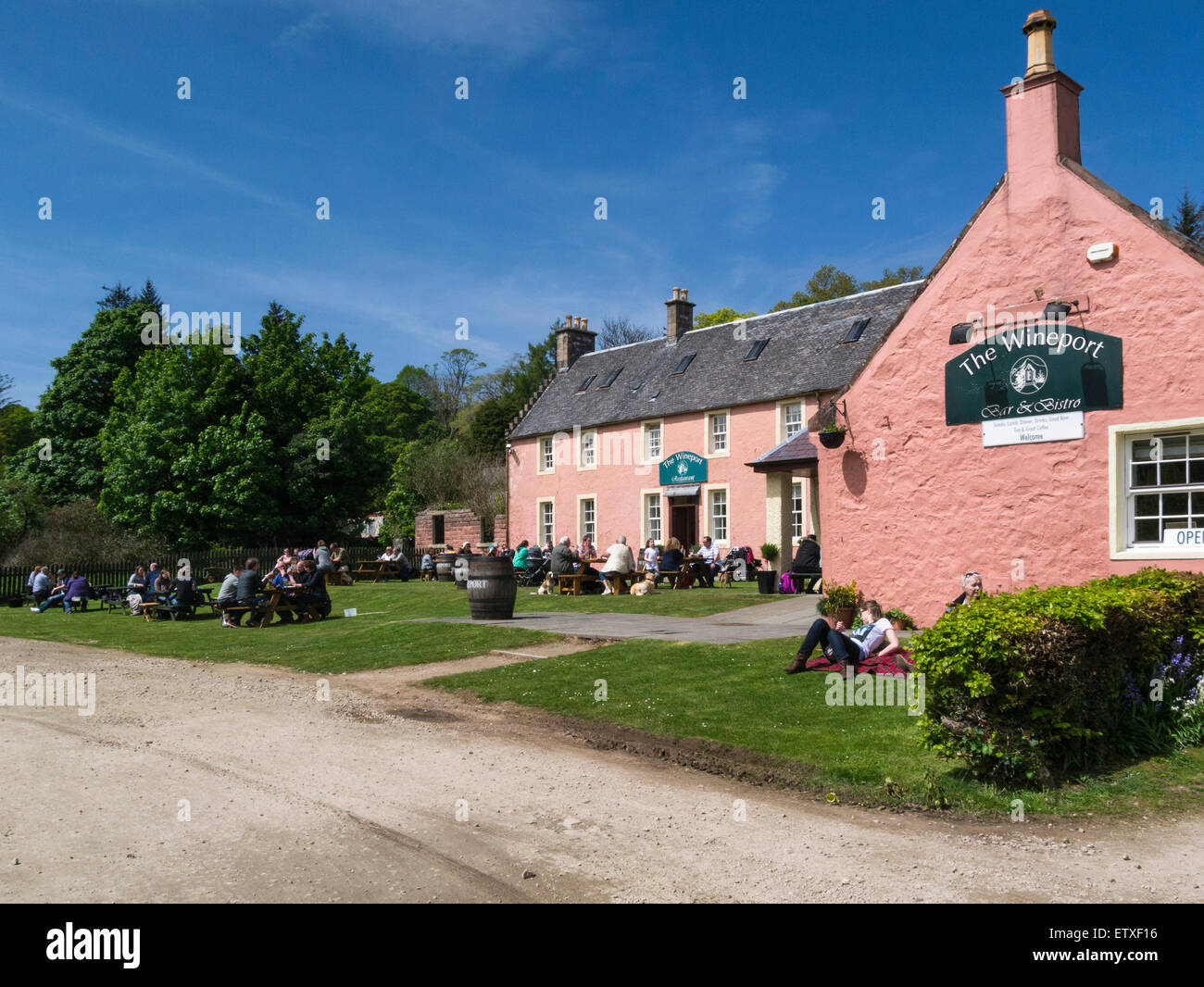 The Wineport Bar and Restaurant Brodick Isle of Arran North Ayrshire Scotland at base of popular walking path to - Stock Image