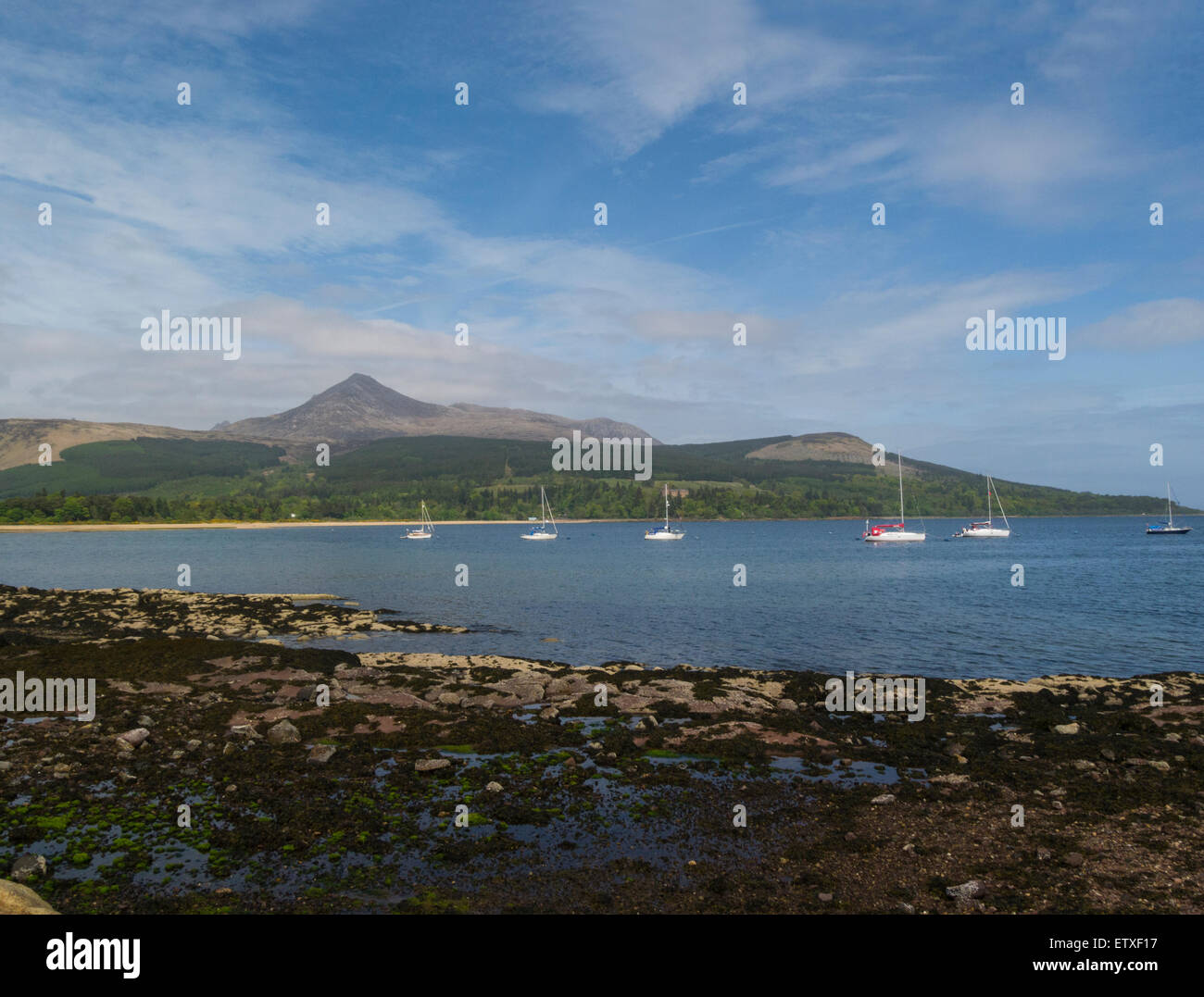 View across Firth of Clyde from Brodick to Goatfell Mountain Isle of Arran North Ayrshire Scotland on lovely May - Stock Image