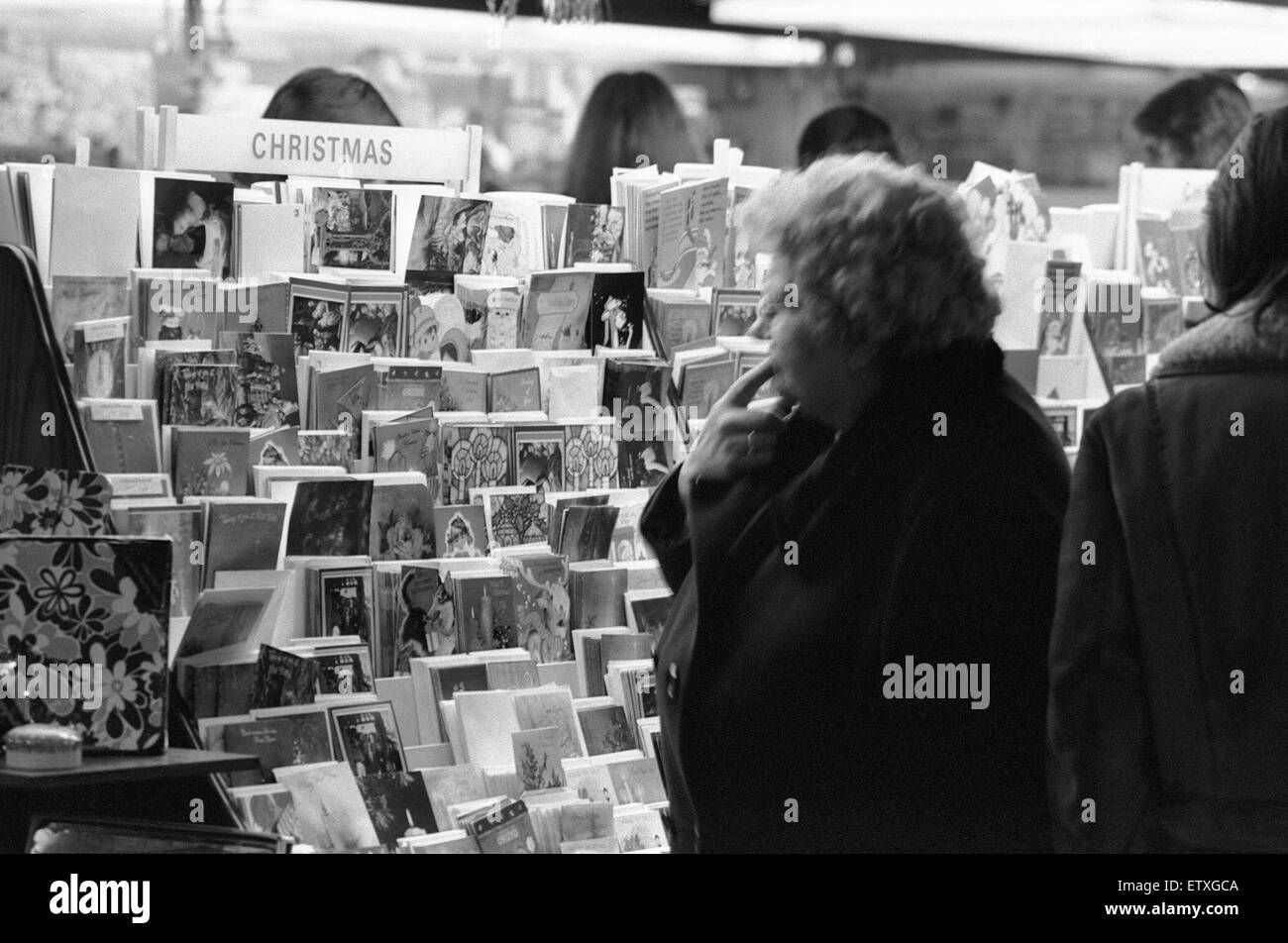 Christmas card shopping in Birmingham. 21st December 1973 - Stock Image