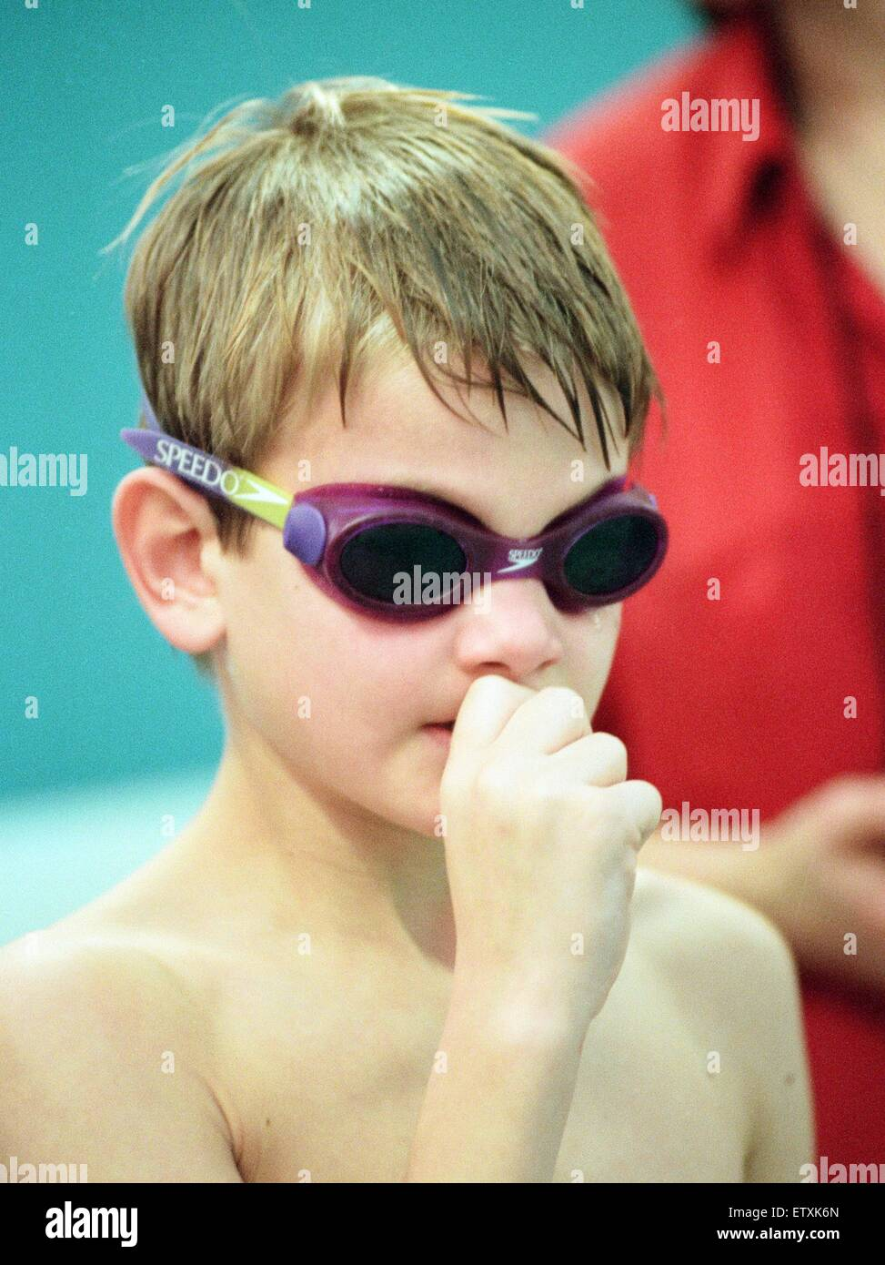 Action at the Guisborough Swimming Club Gala - the nervous wait for your race. 16th November 1997. - Stock Image
