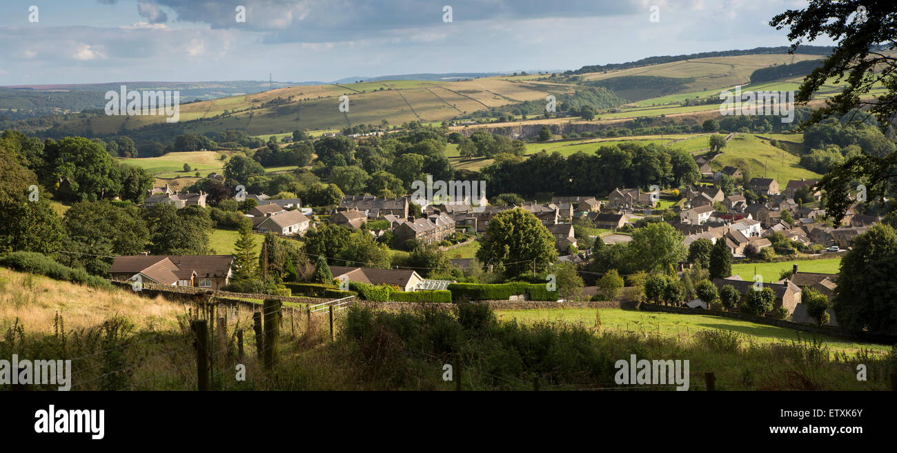 UK, England, Derbyshire, , panoramic view of Eyam village from Bole Hill - Stock Image