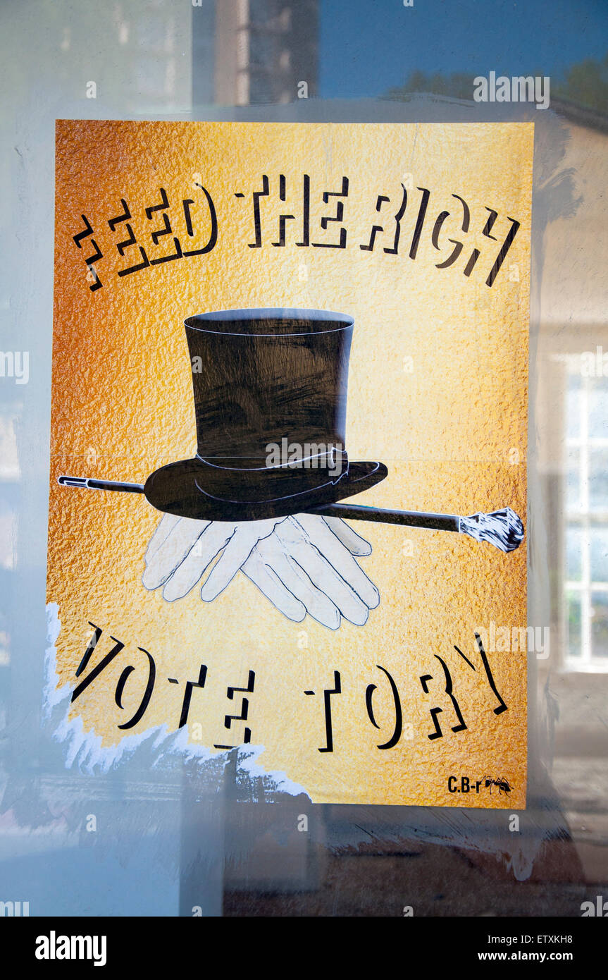 Political poster Feed the Rich Vote Tory - Stock Image