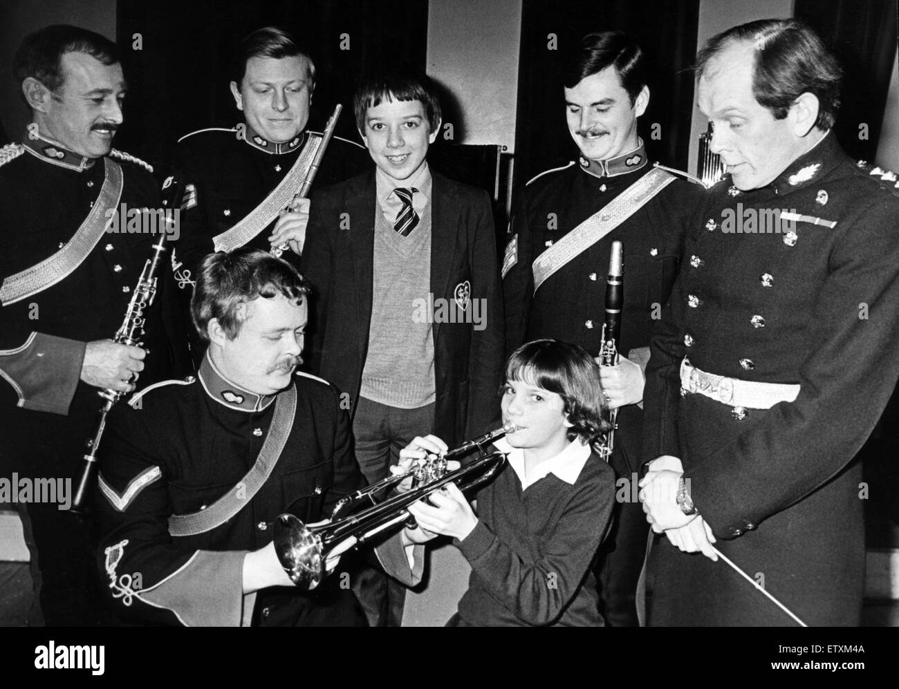 A military band hit a high note with the children at Sacred Heart RC Secondary School in Redcar. The Royal Artillery - Stock Image