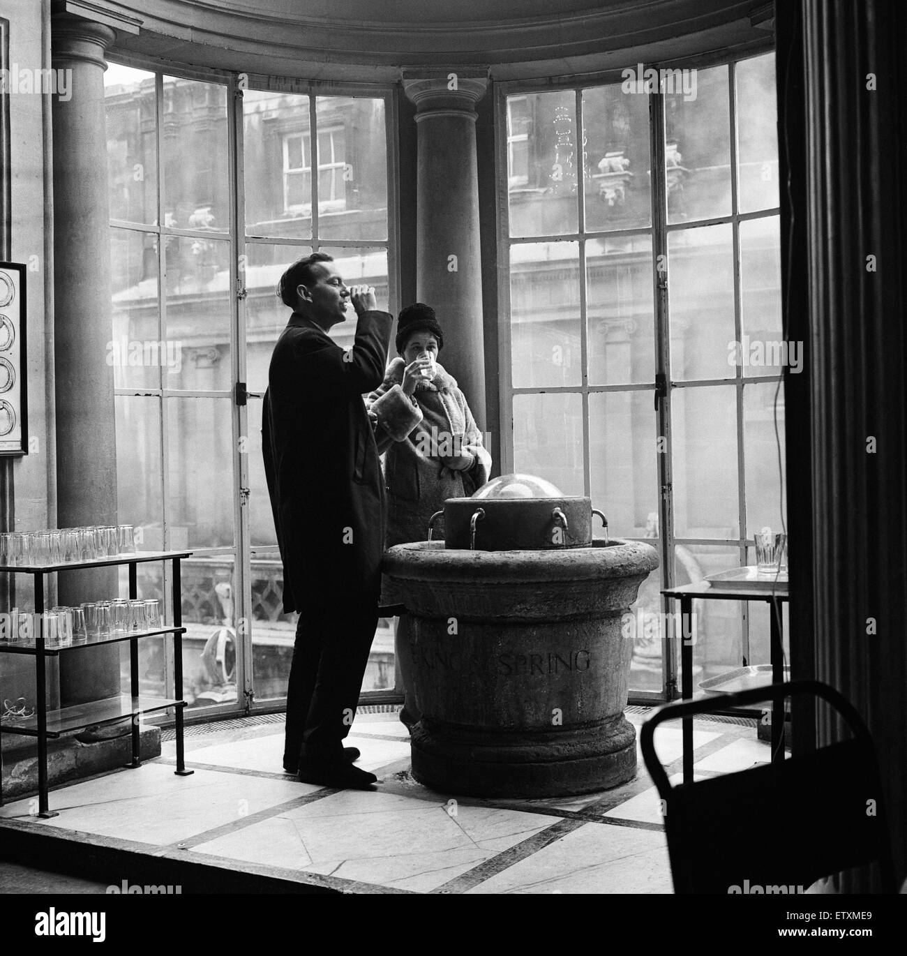 The Kings Fountain in the Grand Pump Room, Bath, Somerset. 29th November 1964. - Stock Image