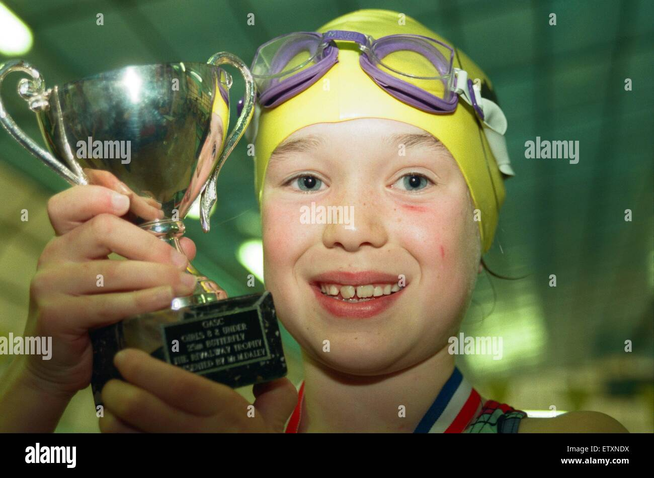 Action at the Guisborough Swimming Club Gala. Winner Amy Prytherch. 16th November 1997. - Stock Image