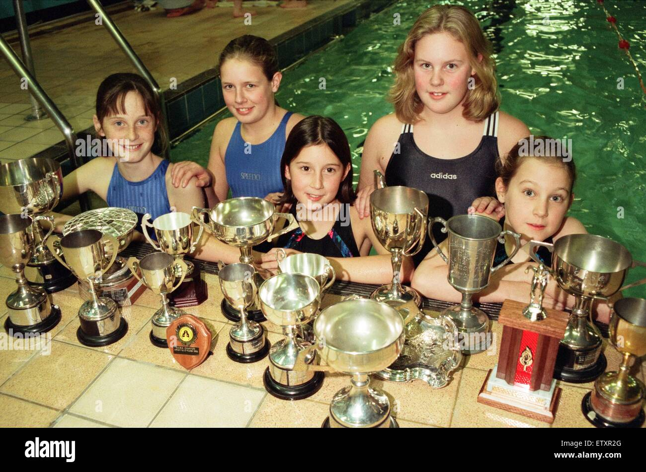 Swimmers from Deepdale in Guisborough swept the board at the Guisborough Swimming Gala. With their trophies are, - Stock Image